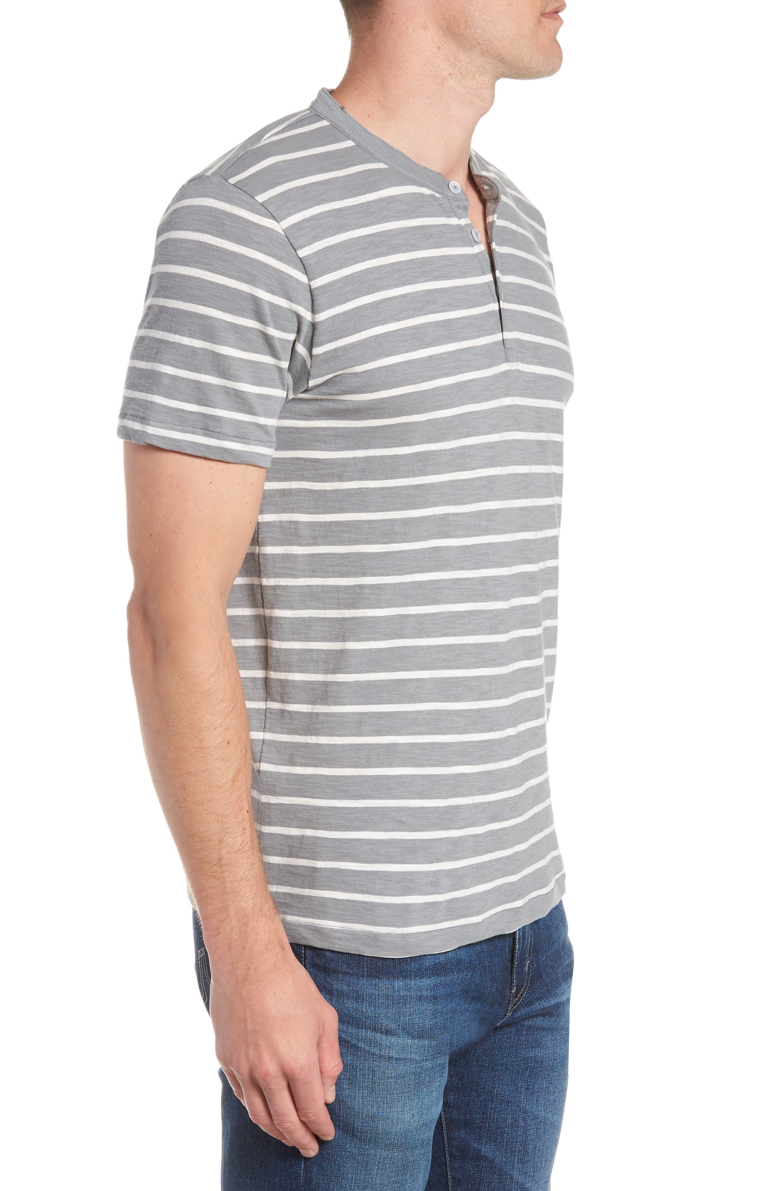 Slim Fit Stripe Henley T-Shirt,                             Alternate thumbnail 3, color,                             Sterling/ Seashell