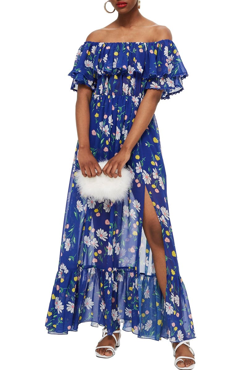Blair Floral Off the Shoulder Maxi Dress