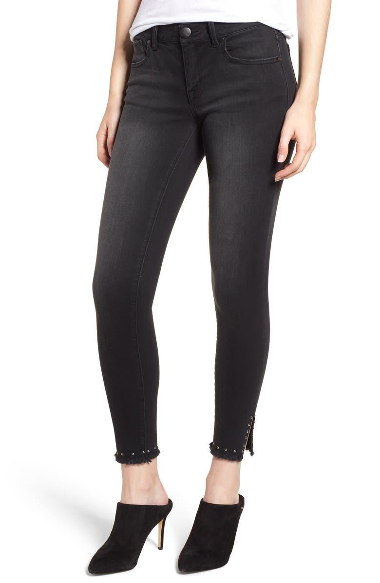 Stud Hem Skinny Ankle Jeans