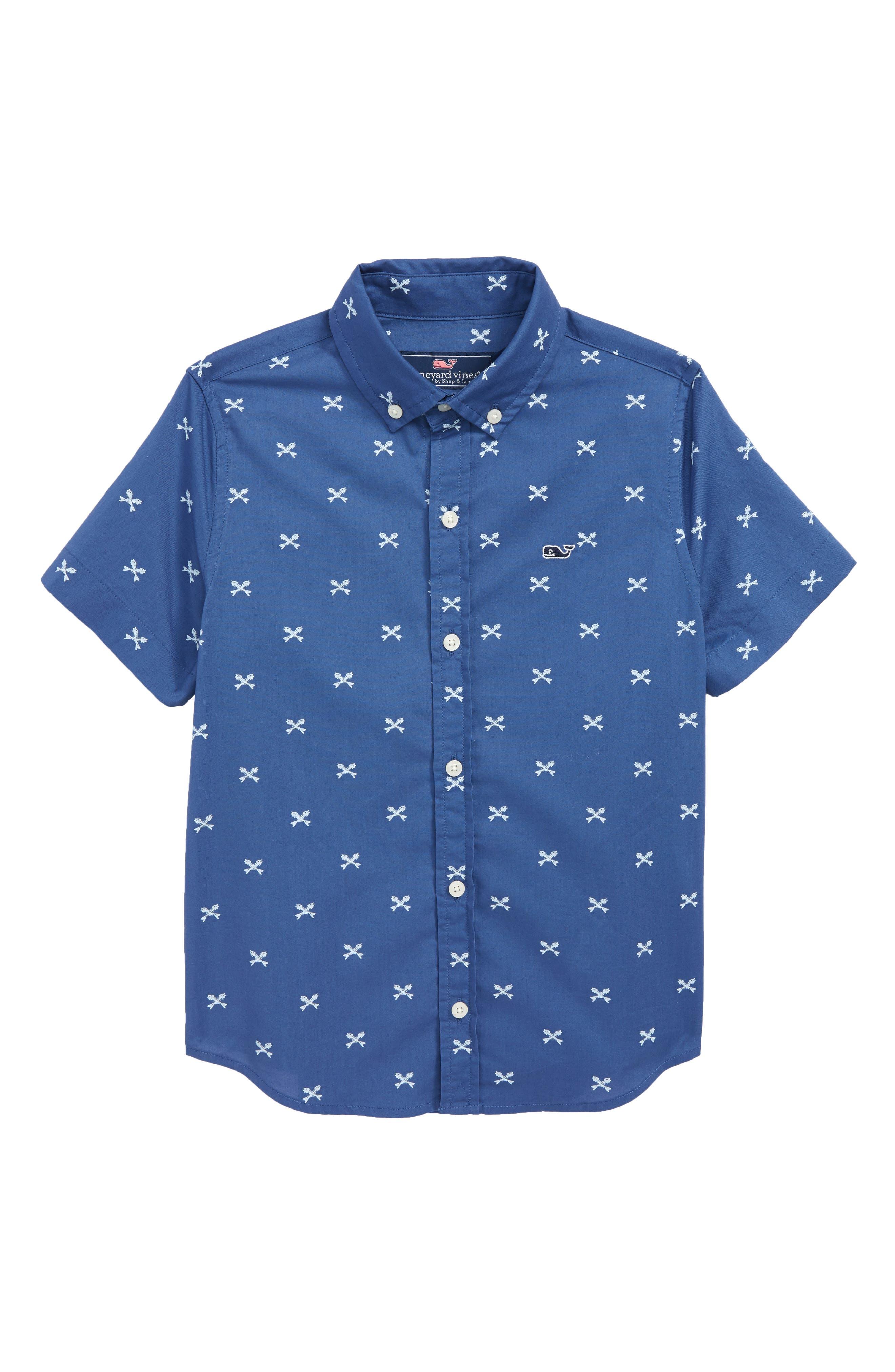 Crossed Fish Bone Short Sleeve Shirt,                         Main,                         color, Moonshine