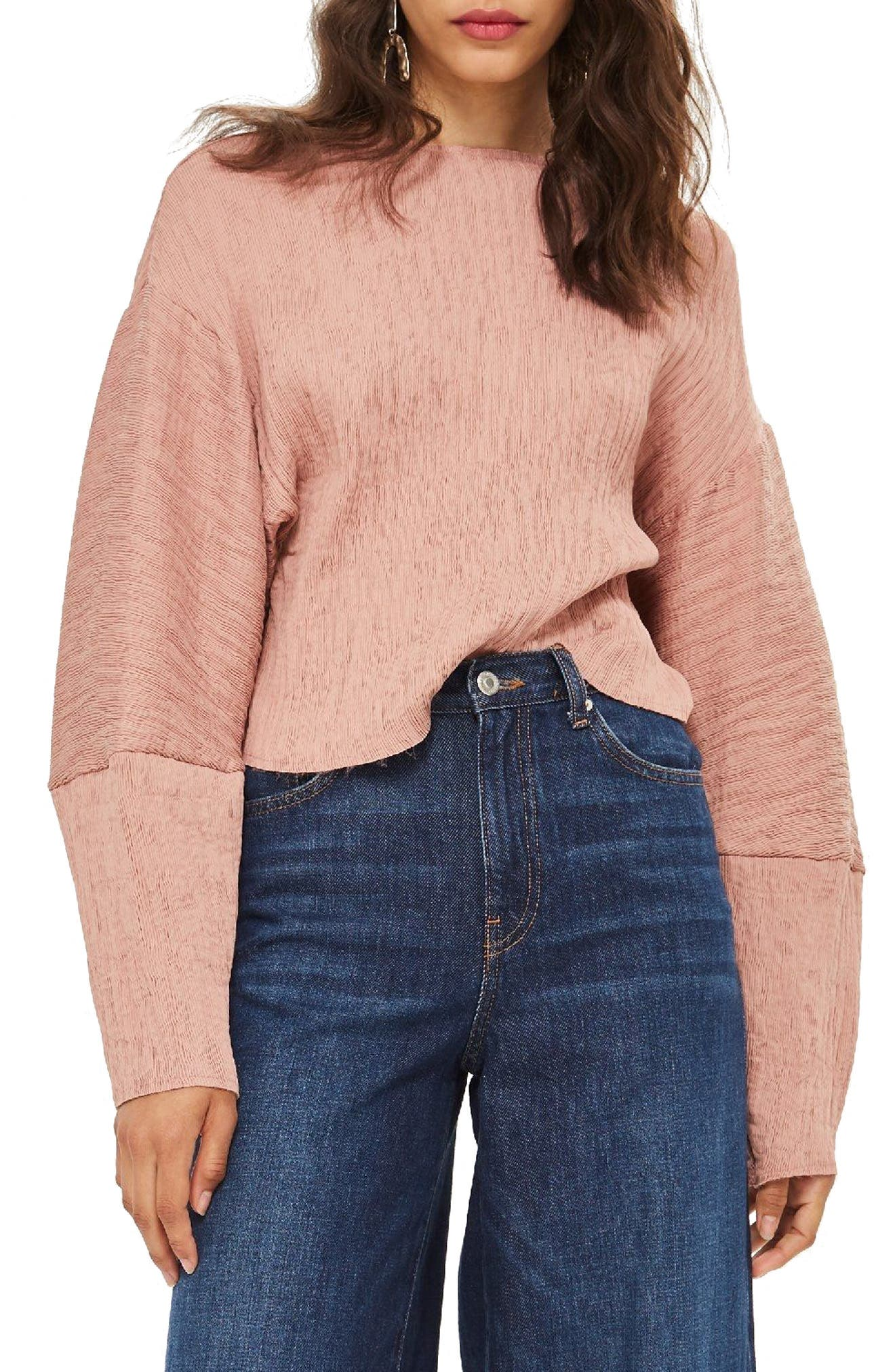 Textured Crinkle Top,                         Main,                         color, Rose