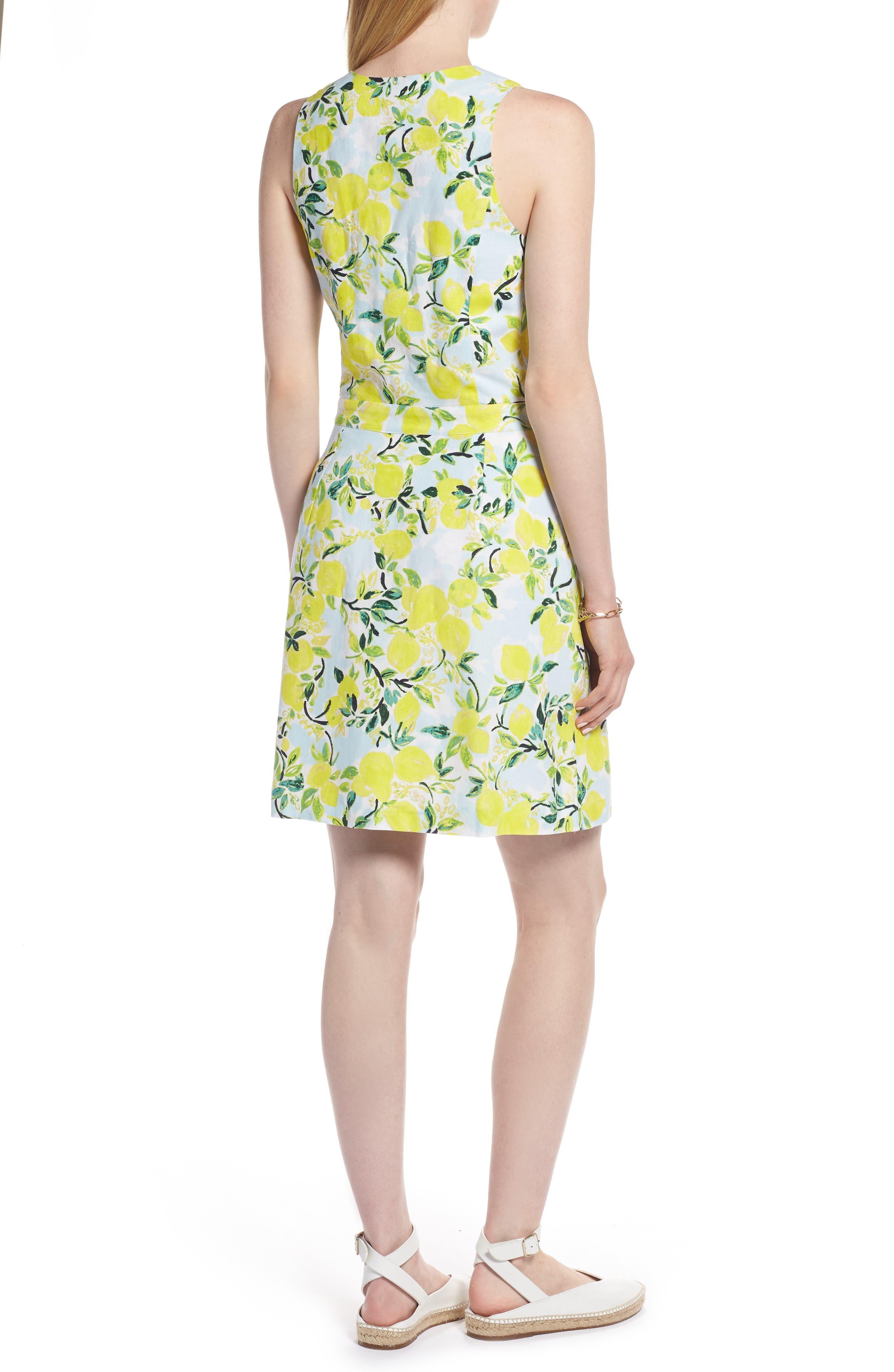 Tie Front Lemon Print Mini Dress,                             Alternate thumbnail 2, color,                             Blue- Yellow Citrus Print