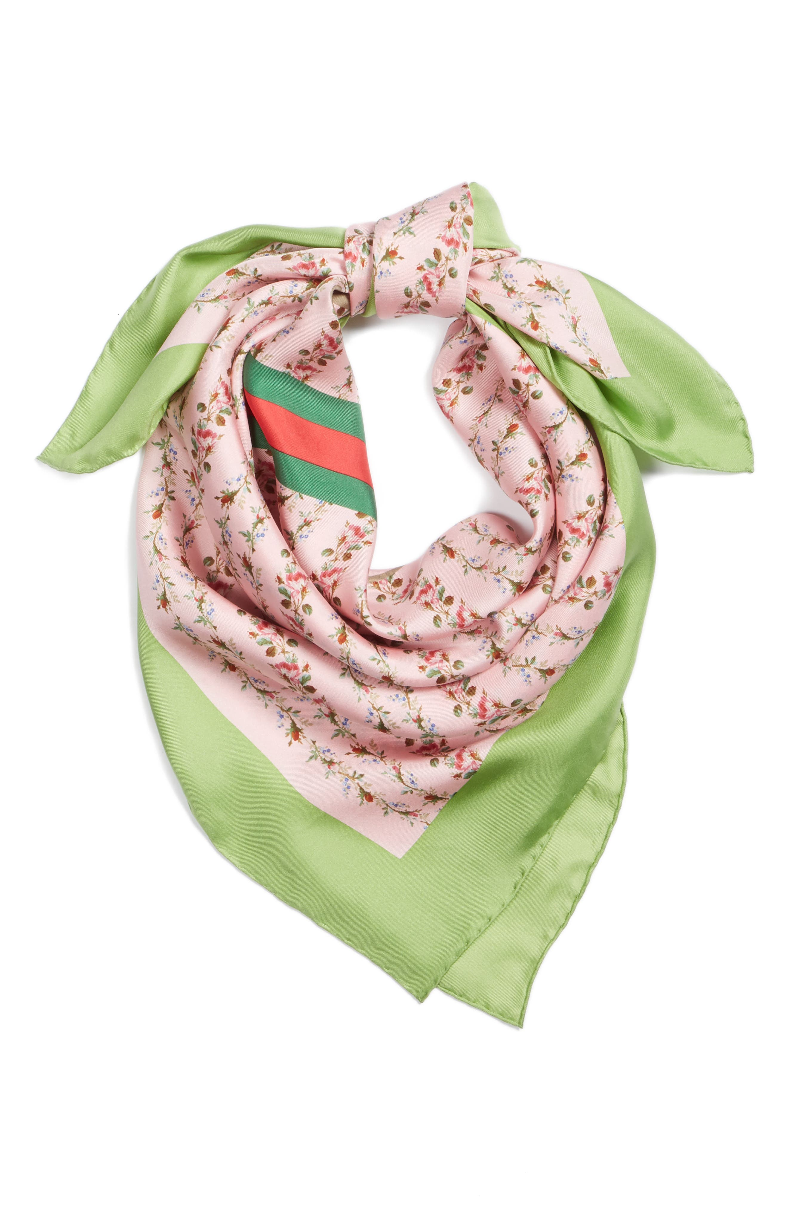 Vintage Rose Foulard Silk Scarf,                             Alternate thumbnail 3, color,                             Rosete/ Light Green