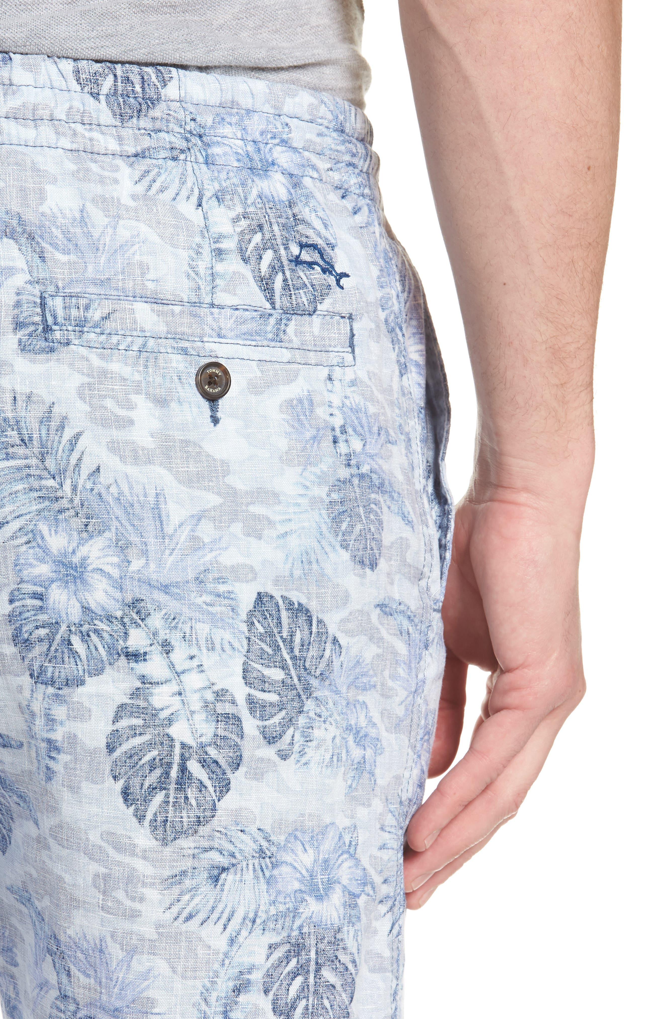 Tidal Palms Linen Shorts,                             Alternate thumbnail 4, color,                             Med Sky Blue