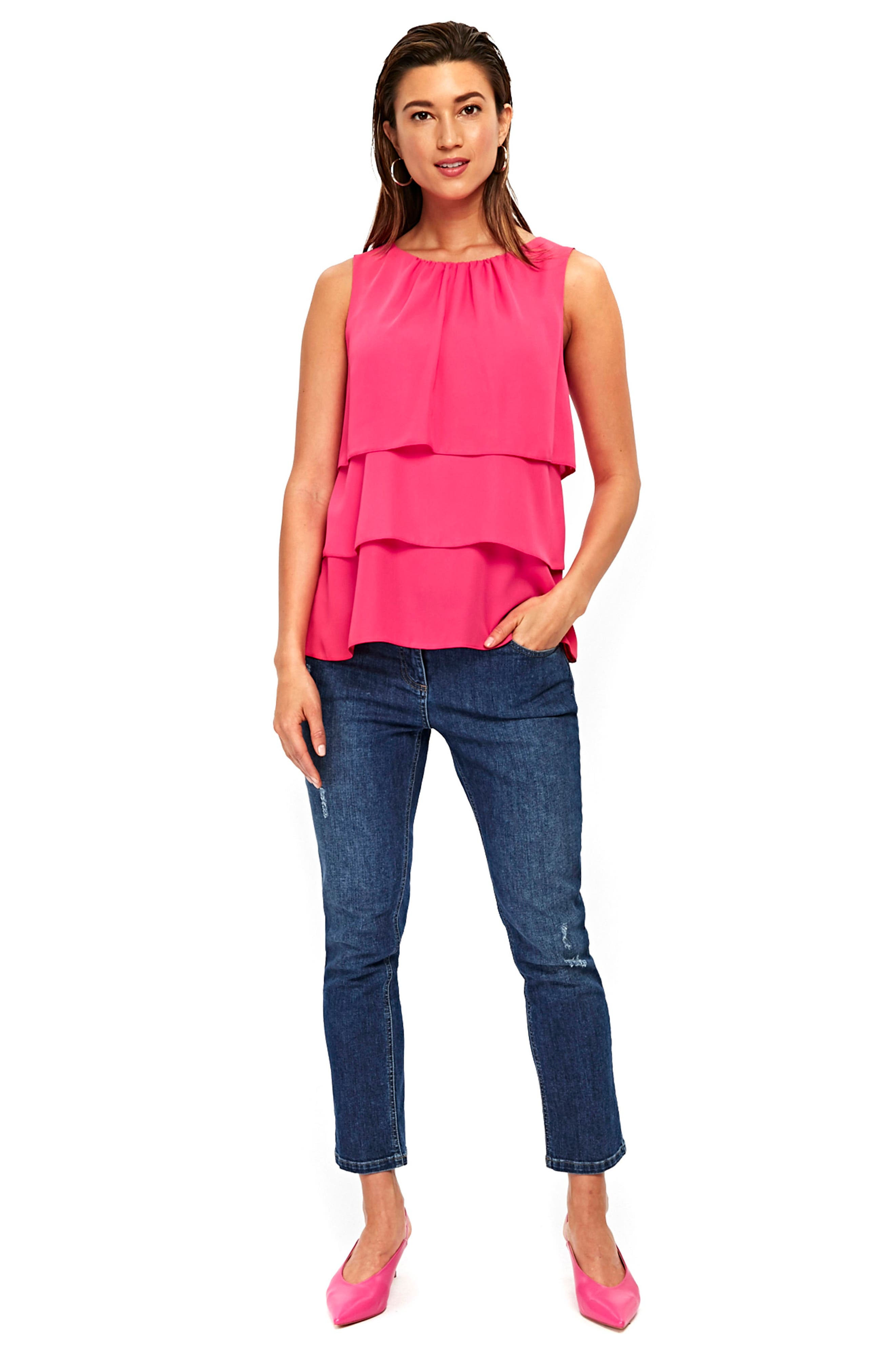 Tiered Sleeveless Top,                             Alternate thumbnail 4, color,                             Bright Pink