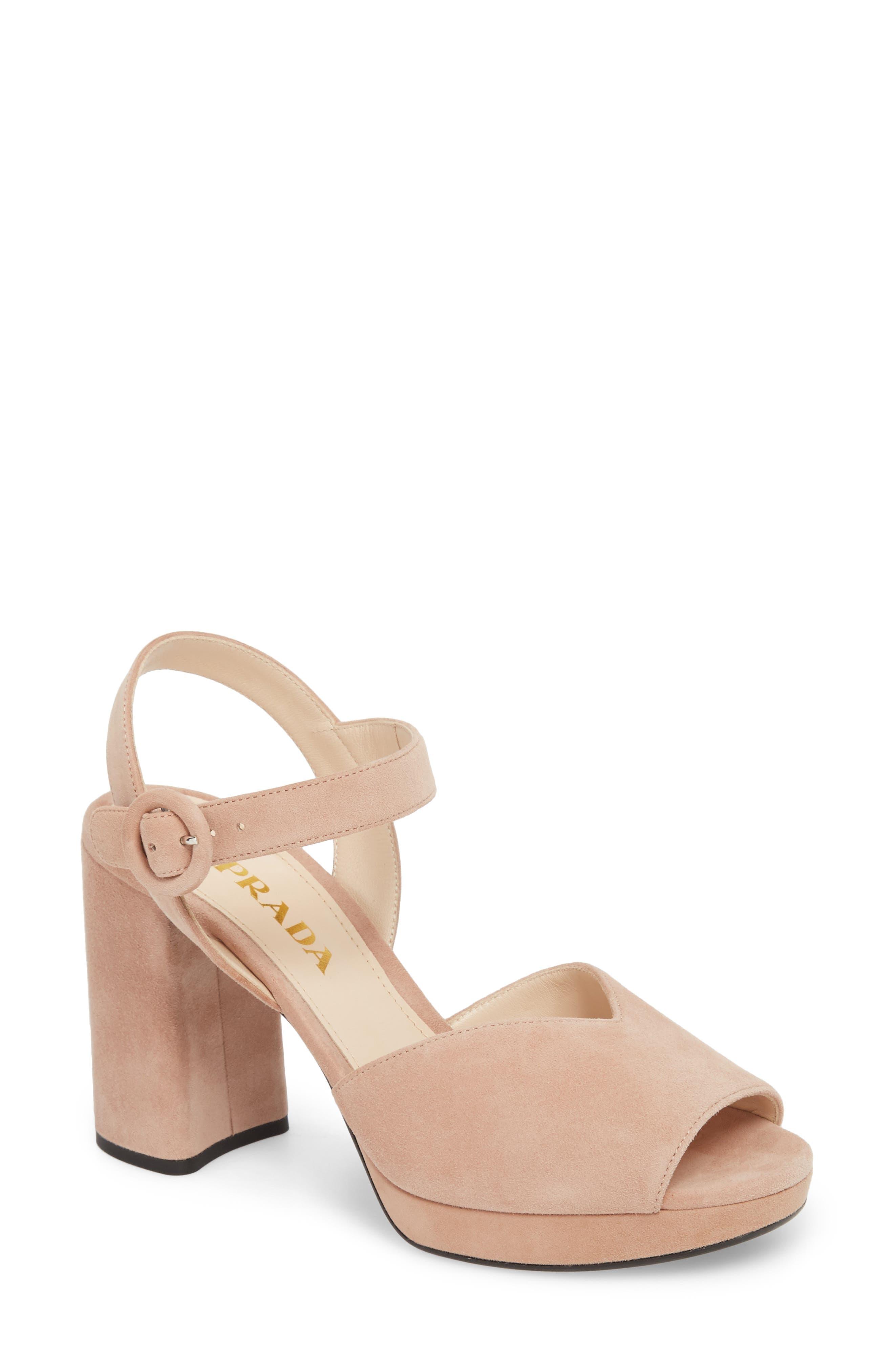68ebf7fec23e7 Prada Block-Heel Sandals for Women