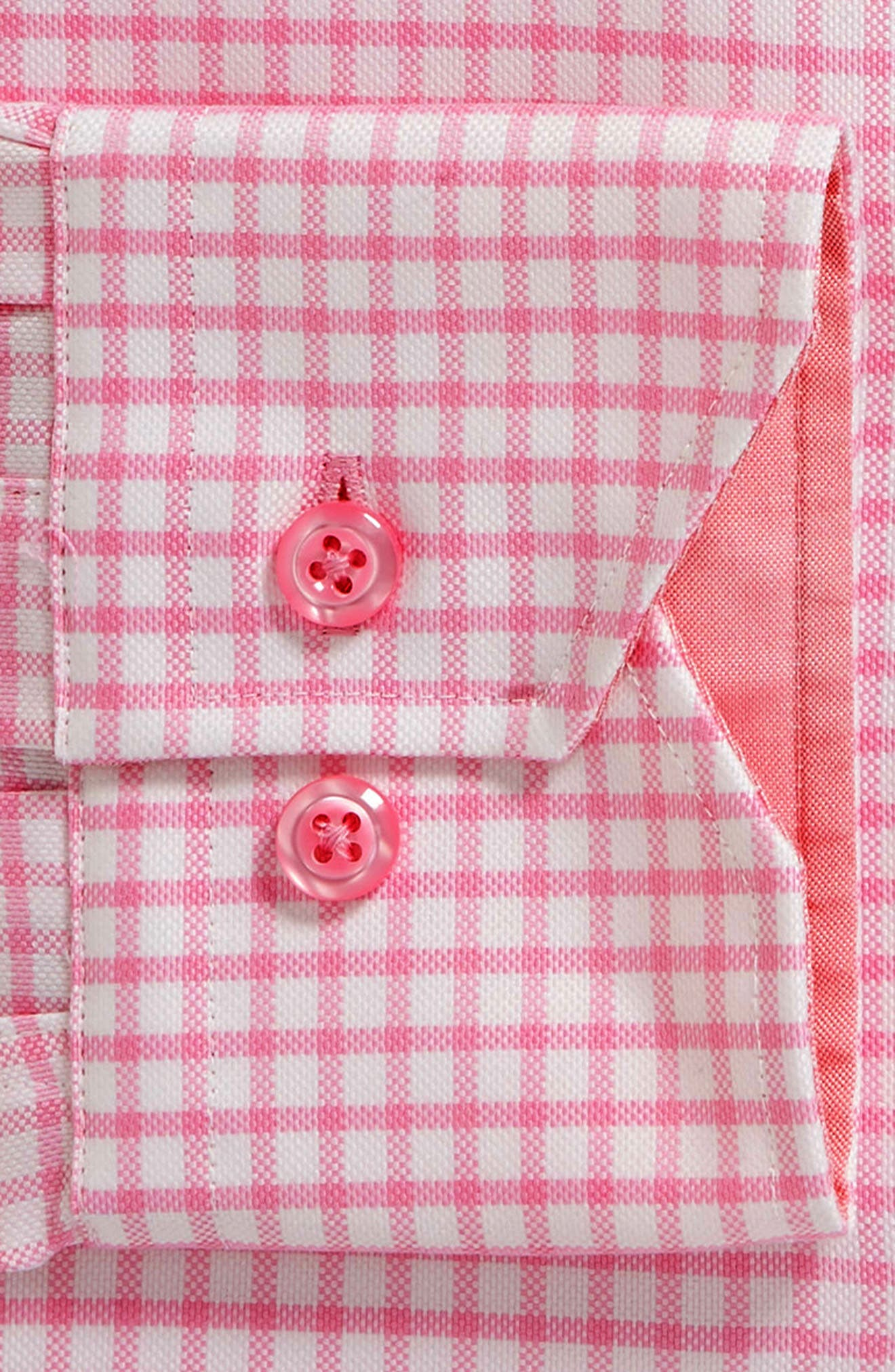 Trim Fit Check Dress Shirt,                             Alternate thumbnail 5, color,                             Pink/ White