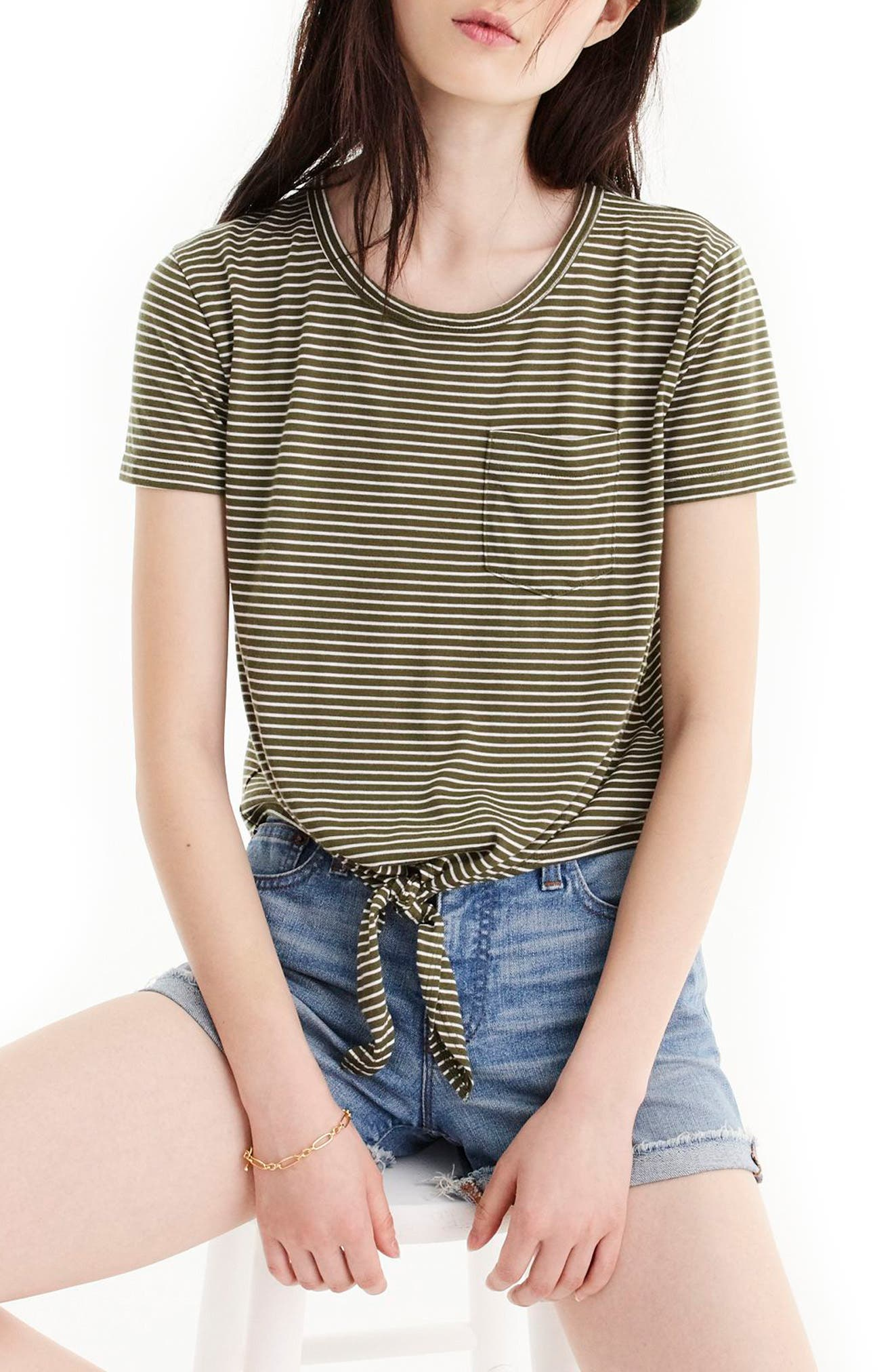 Knotted Stripe Pocket Tee,                         Main,                         color, White Loden Green