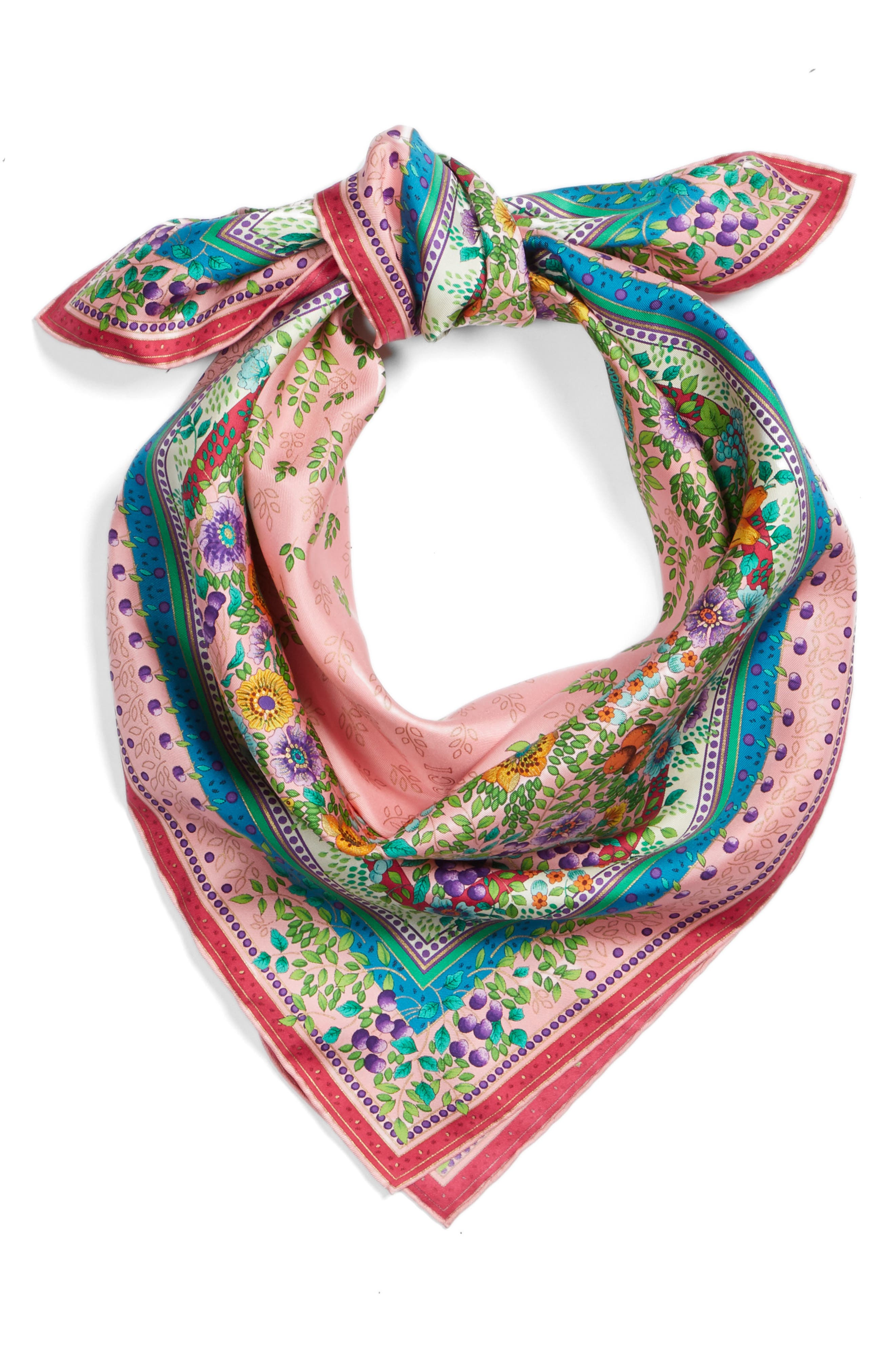 Liberty Flowers Fouland Silk Square Scarf,                             Alternate thumbnail 3, color,                             Pink