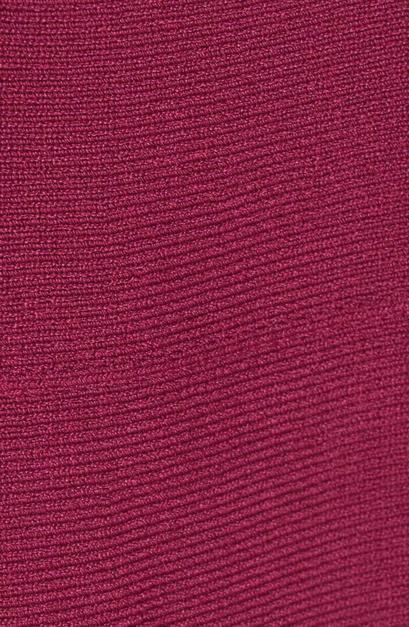 Cherina Bow Detail Fit & Flare Knit Dress,                             Alternate thumbnail 5, color,                             Maroon