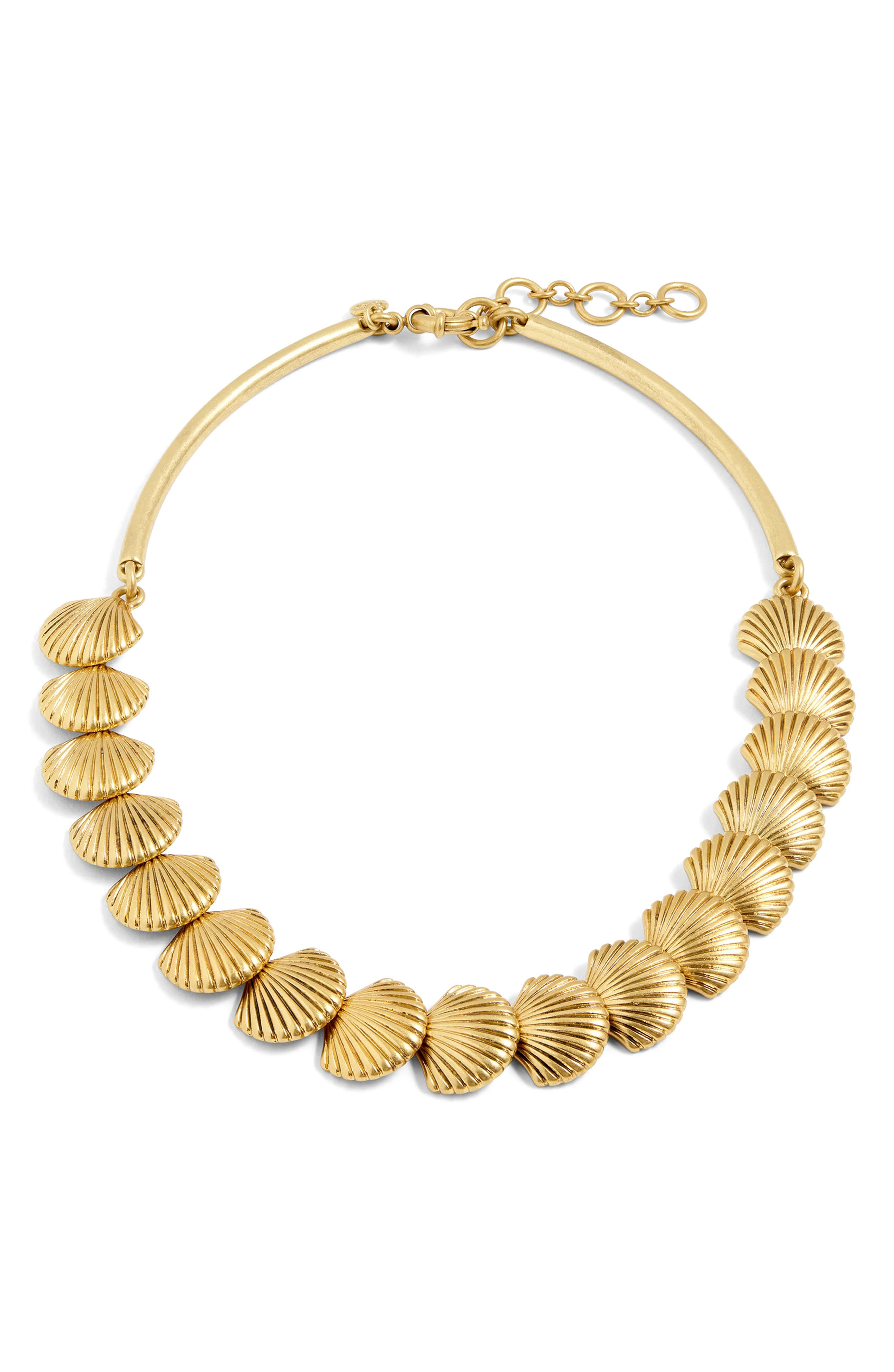 Seashell Collar Necklace,                         Main,                         color, Antique Gold