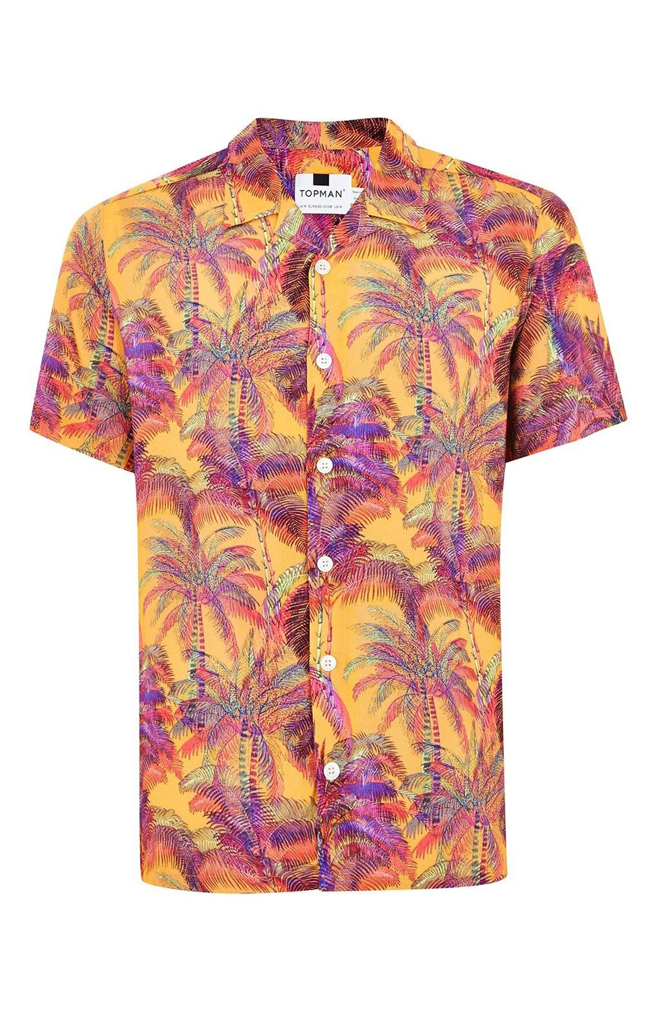 Palm Print Camp Shirt,                             Alternate thumbnail 3, color,                             Orange Multi
