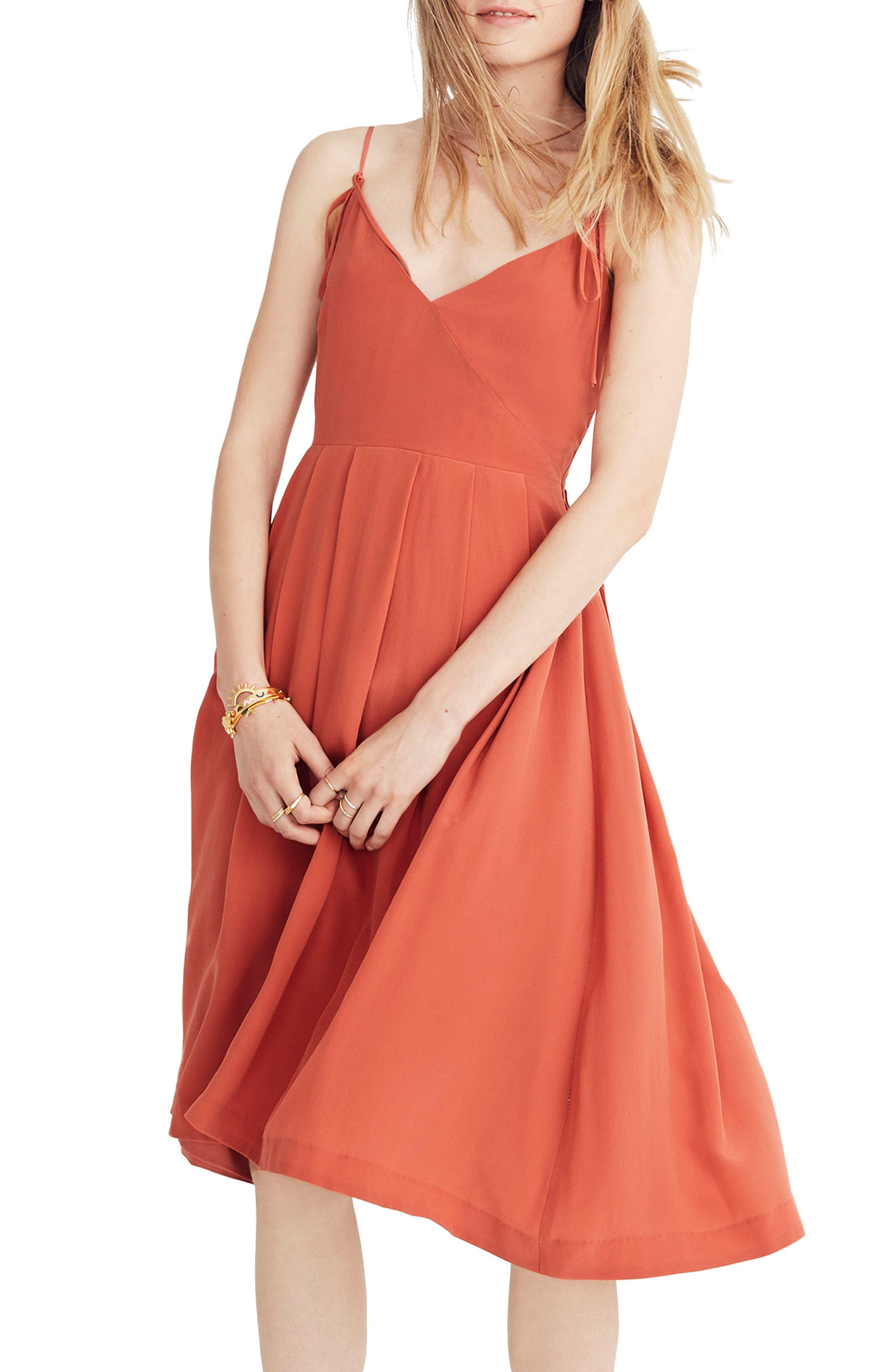 Fern Silk Faux Wrap Dress,                         Main,                         color, Spiced Rose