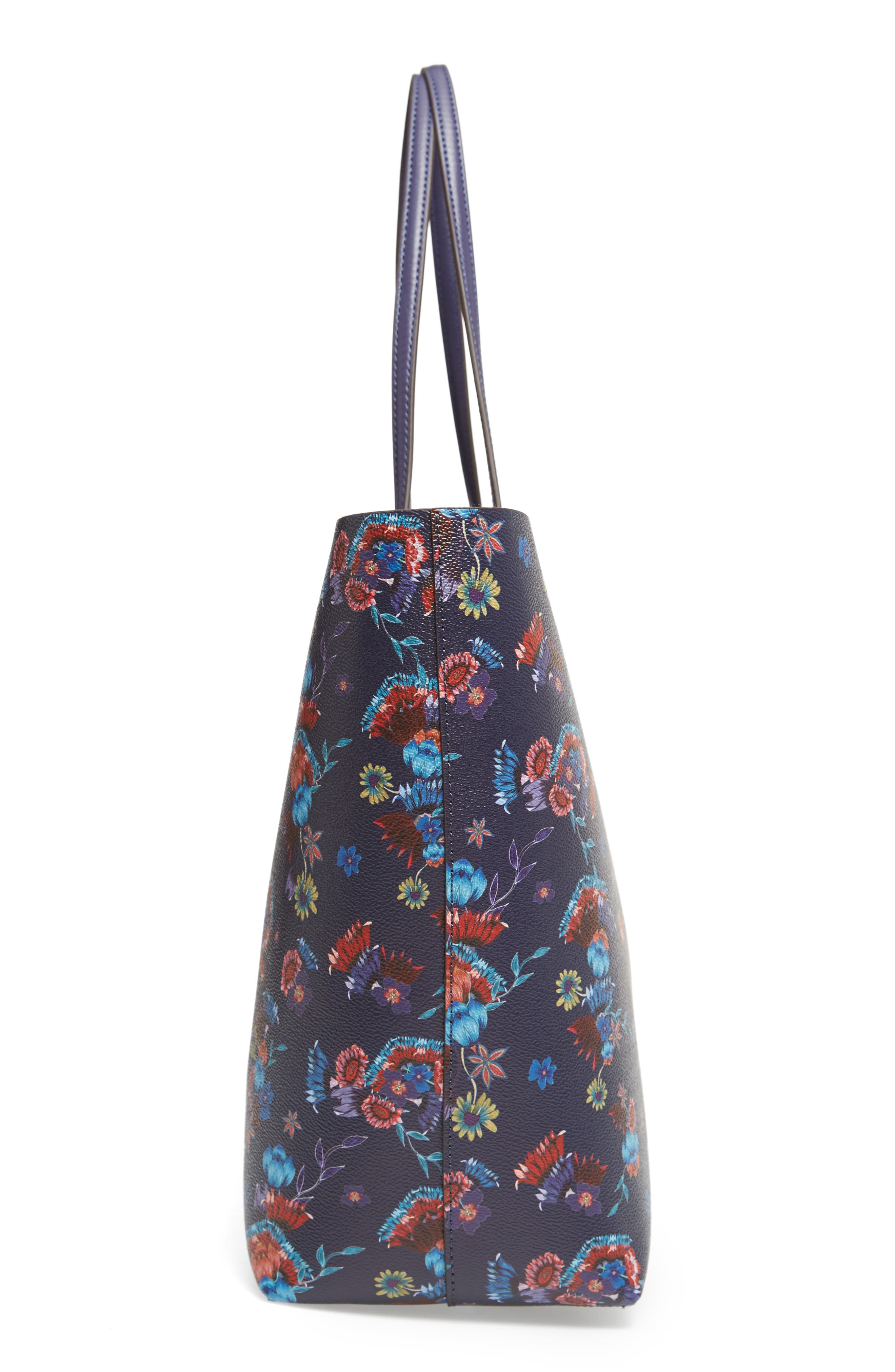 Large Heather Tote,                             Alternate thumbnail 5, color,                             Floral Blue