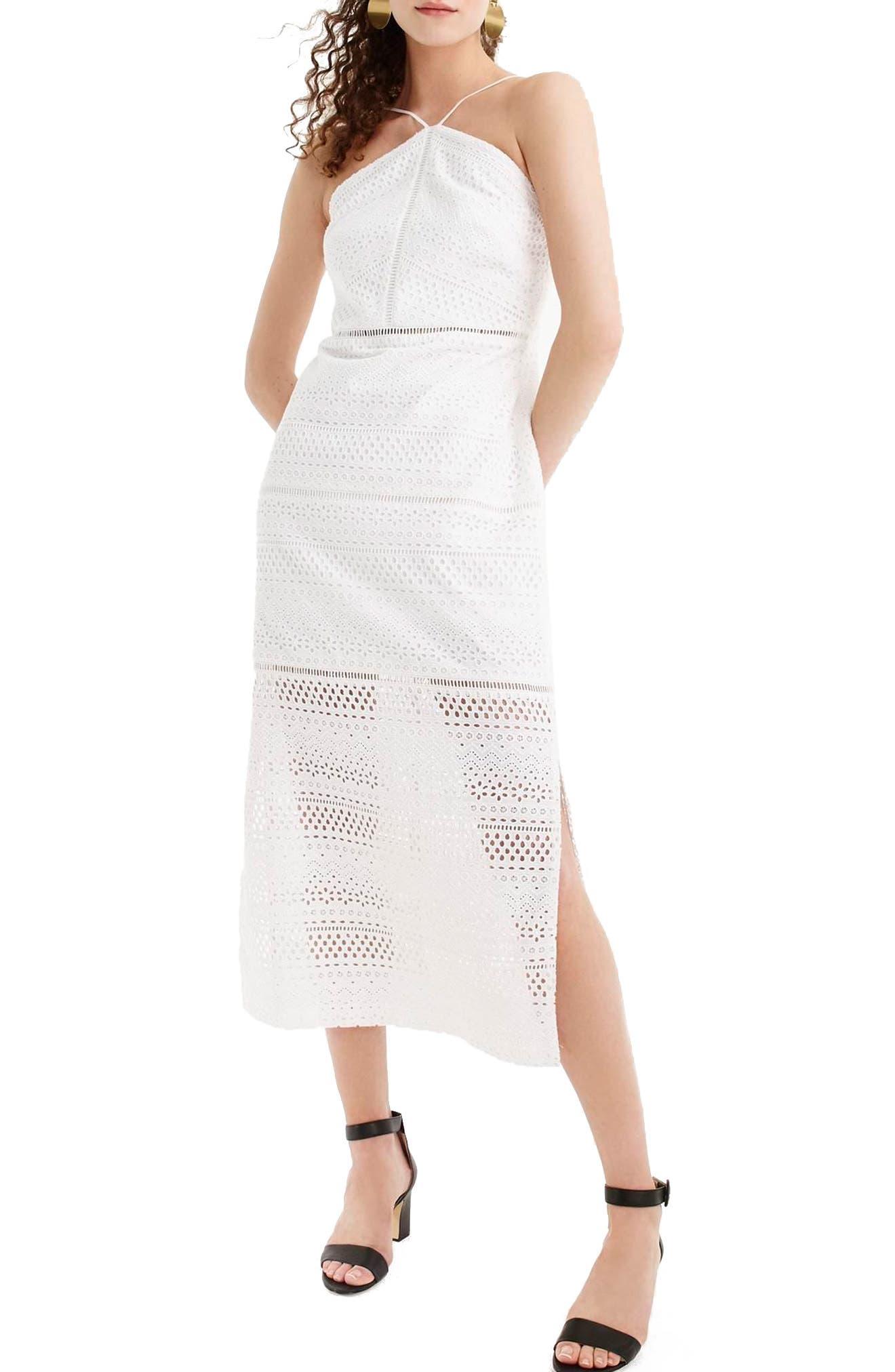String Halter Eyelet Dress,                         Main,                         color, White