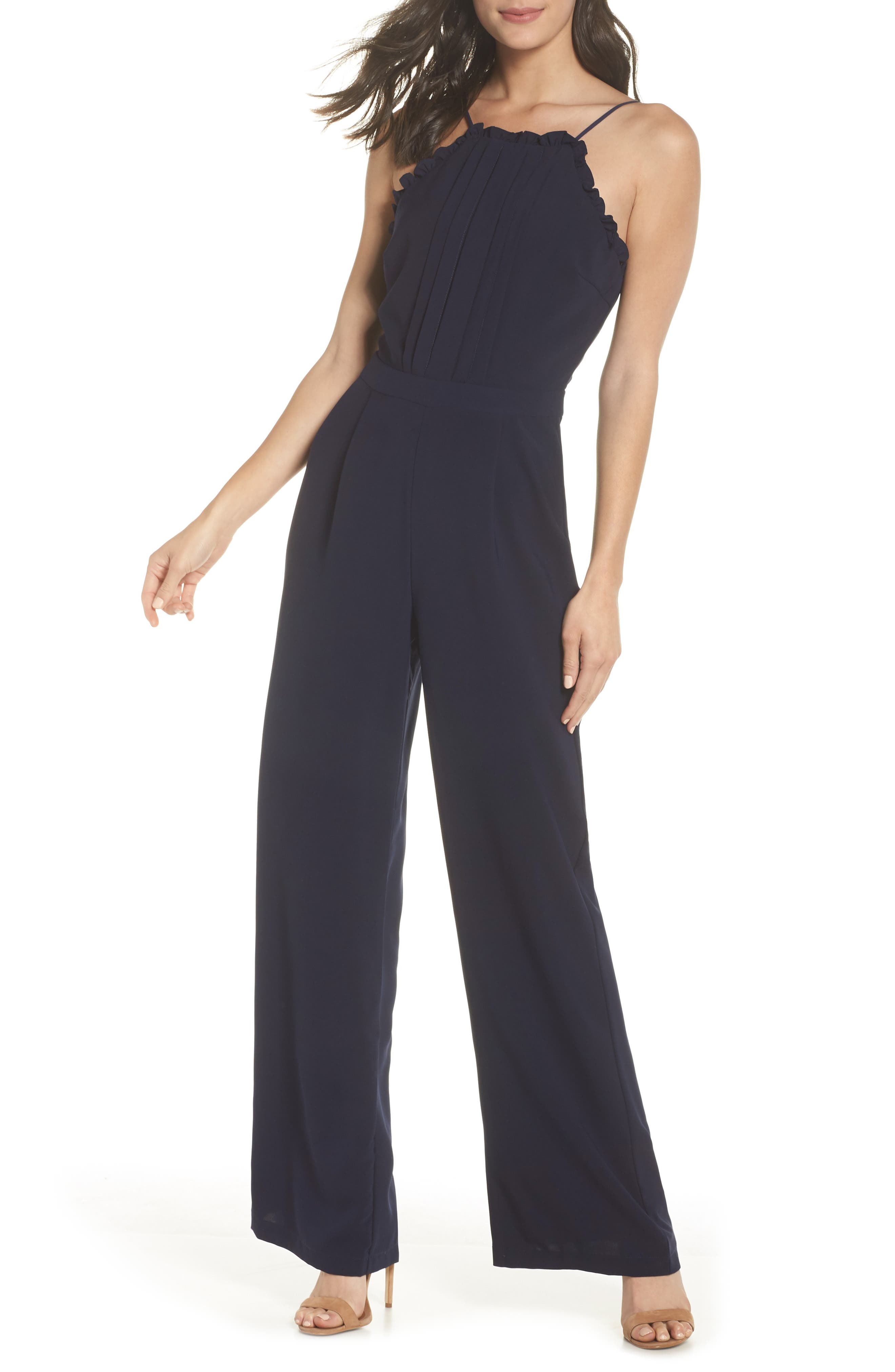 ADELYN RAE APRON STYLE JUMPSUIT