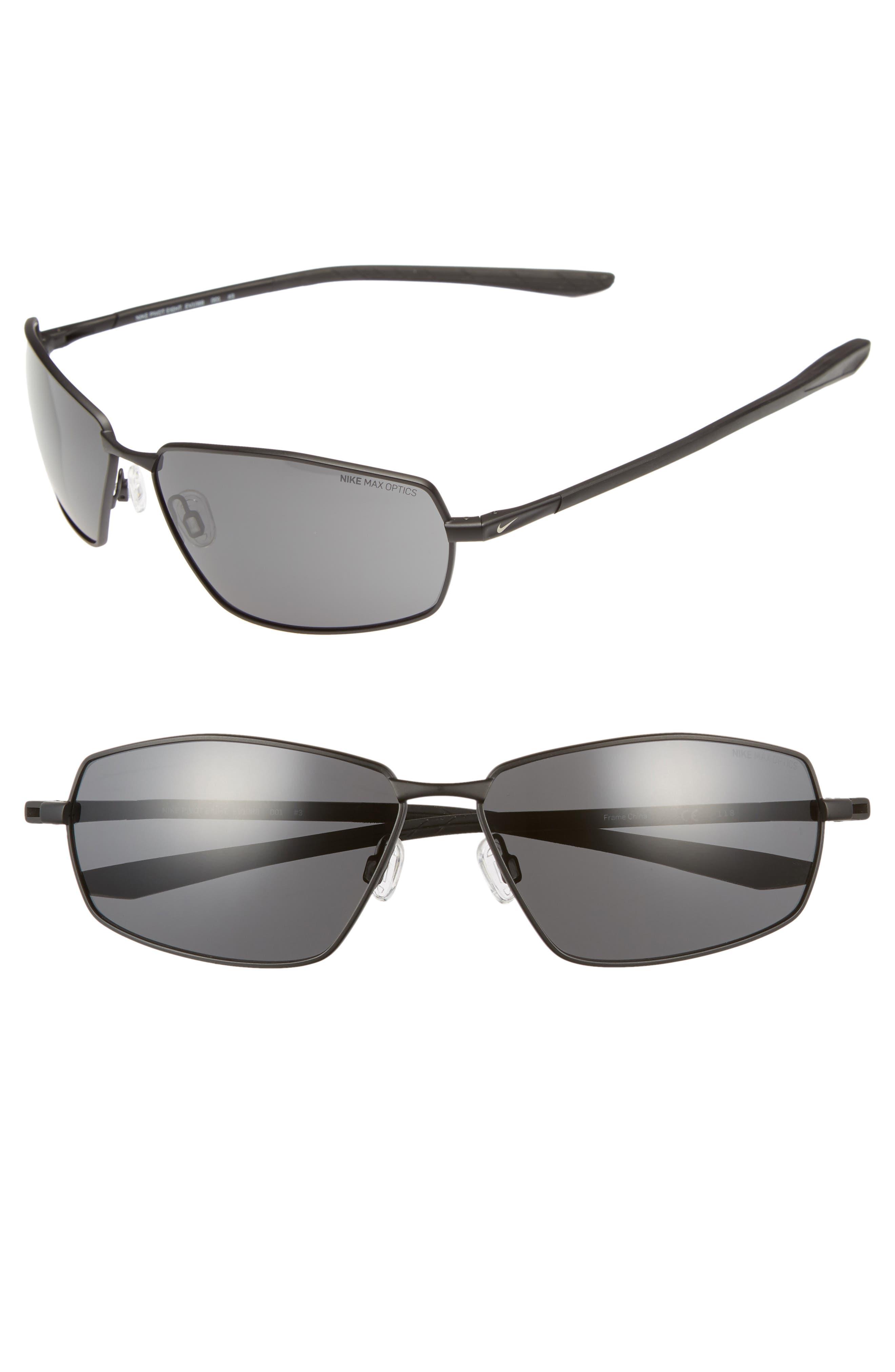 Pivot Eight 63mm Oversize Sunglasses,                             Main thumbnail 1, color,                             Satin Black/ Dark Grey