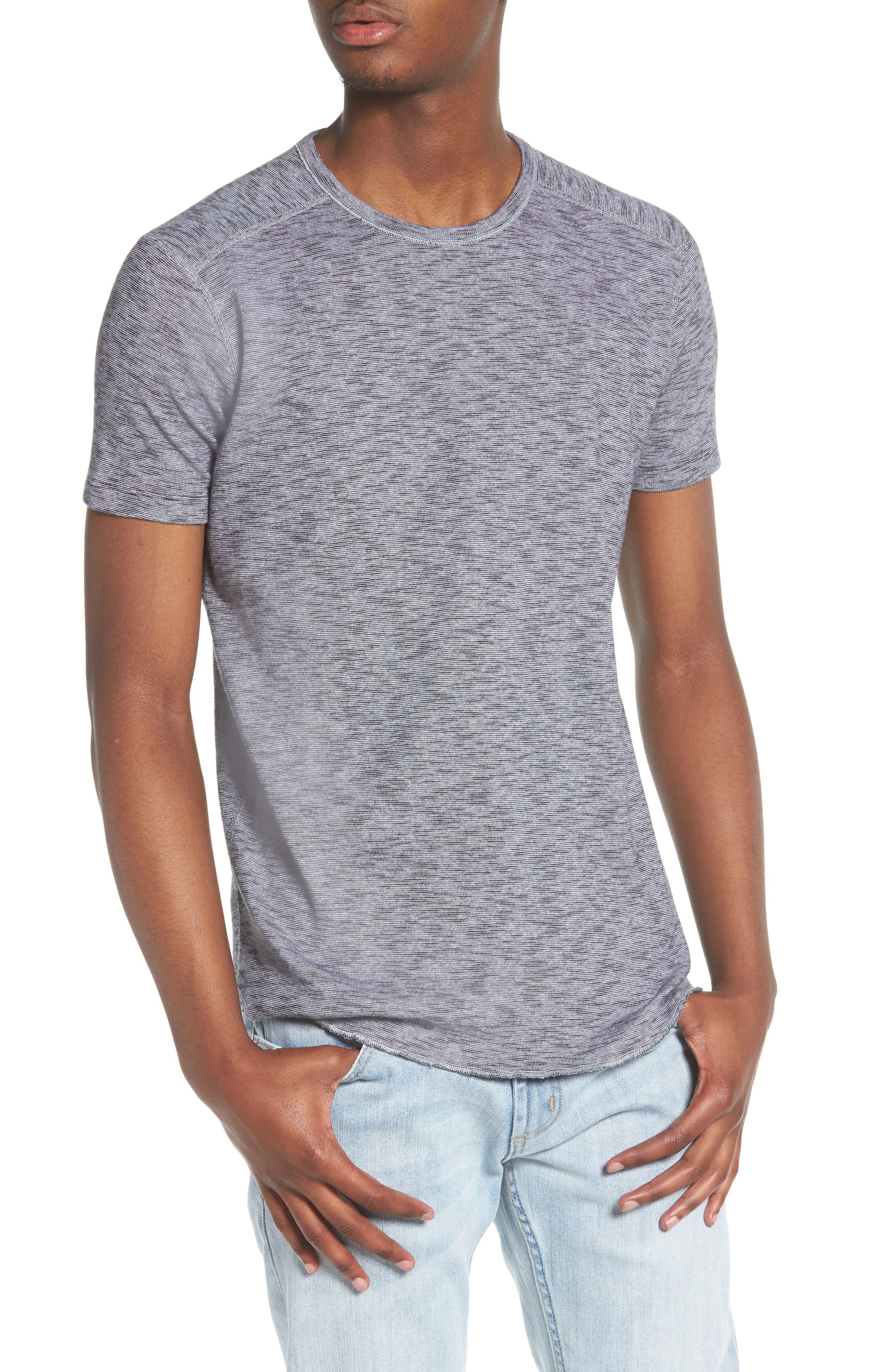 Ribbed Slub Cotton T-Shirt,                             Main thumbnail 1, color,                             Feeder Stripe Grey