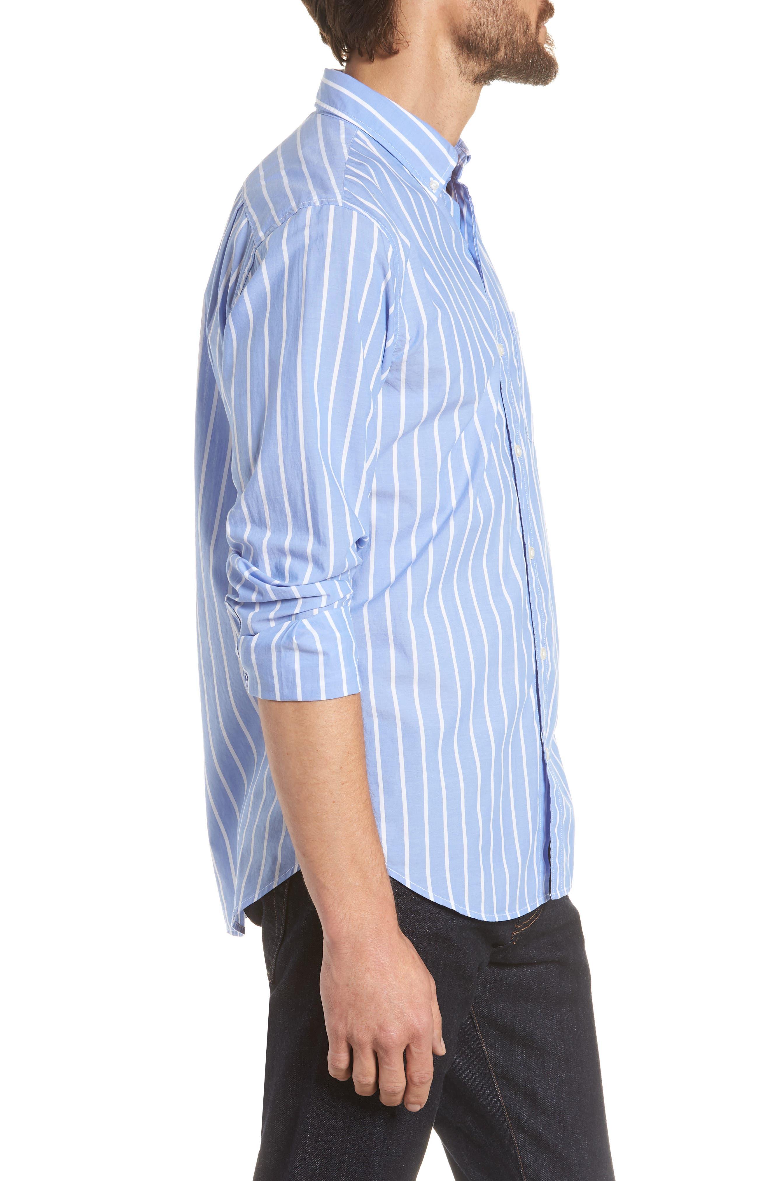 Summerweight Slim Fit Stripe Sport Shirt,                             Alternate thumbnail 4, color,                             Caste Hill Stripe Blue