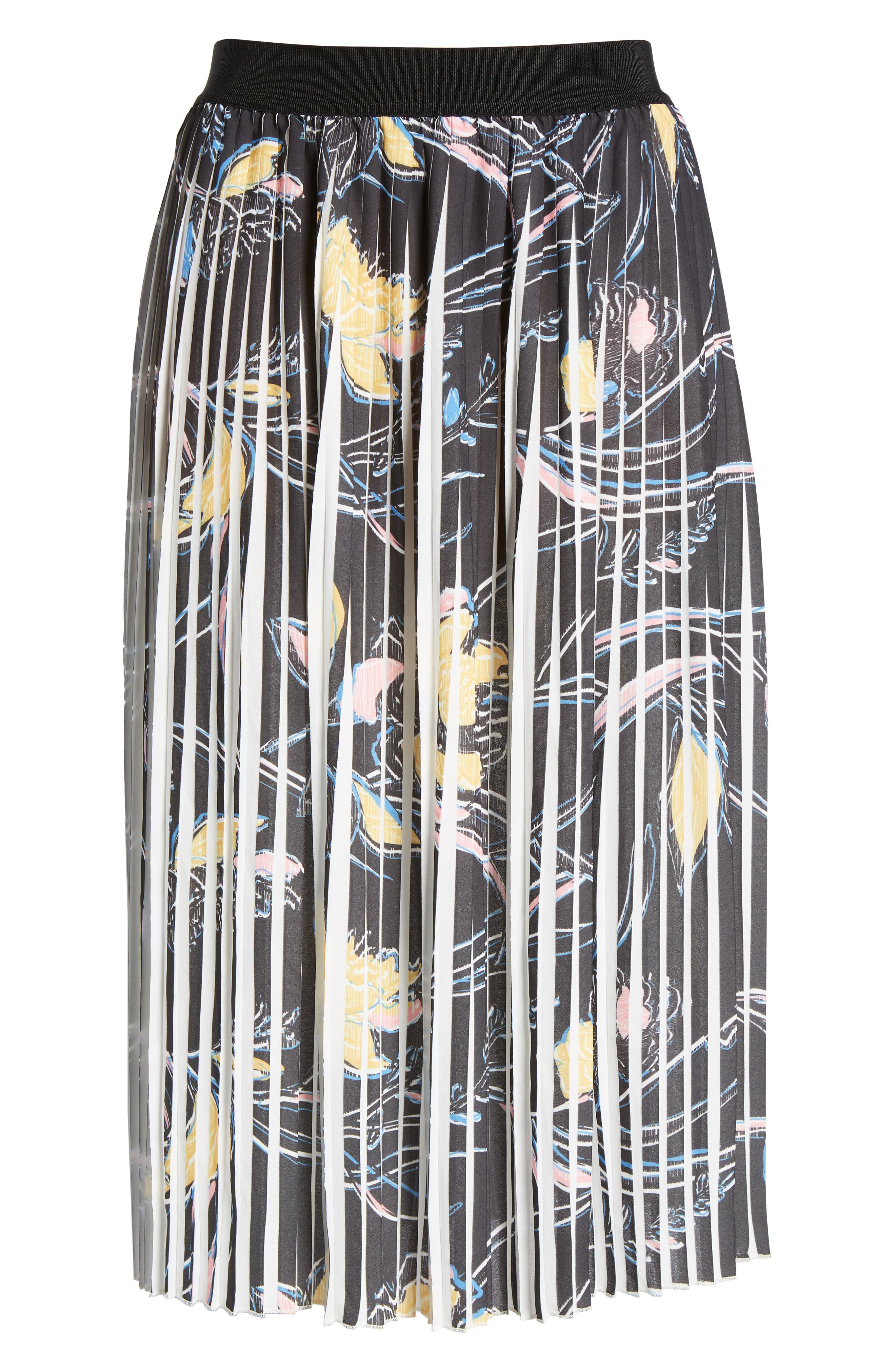 Pleated Print Skirt,                             Alternate thumbnail 6, color,                             Black- Yellow Floral