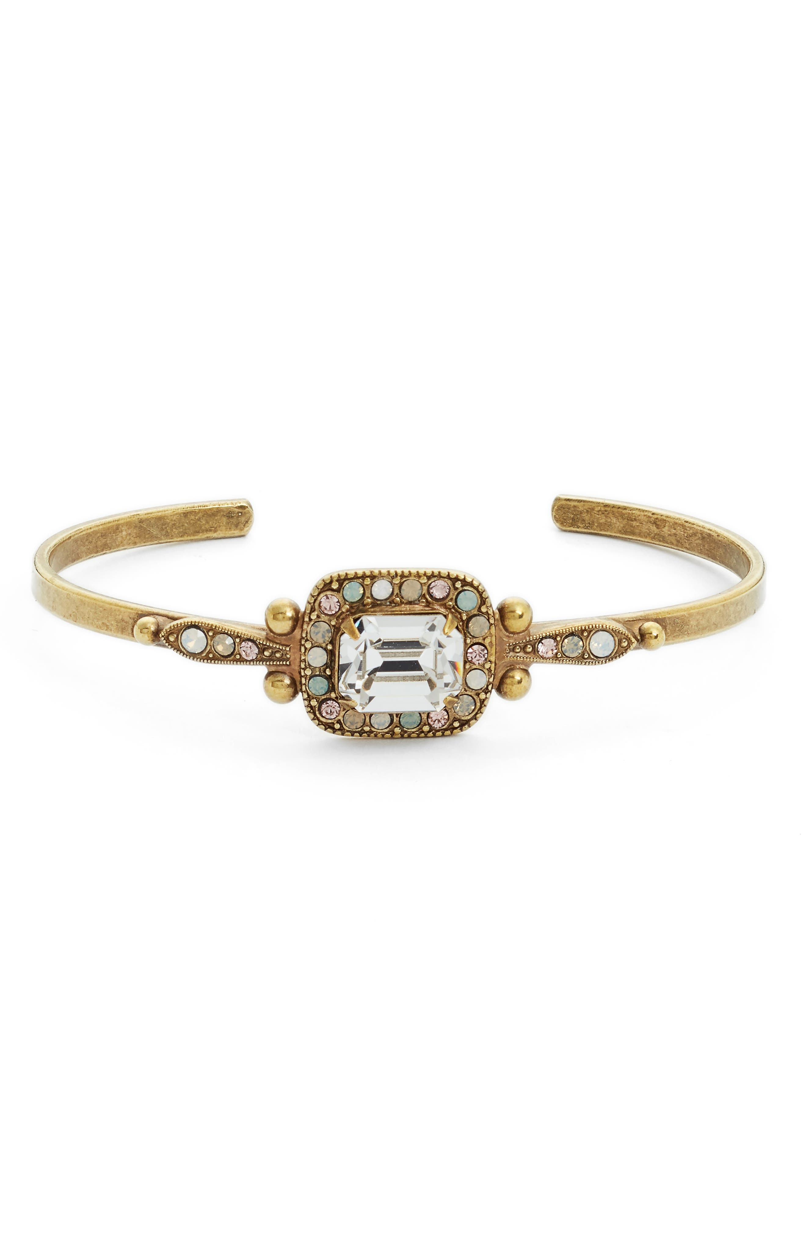 Opulent Octagon Crystal Cuff Bracelet,                             Main thumbnail 1, color,                             Clear