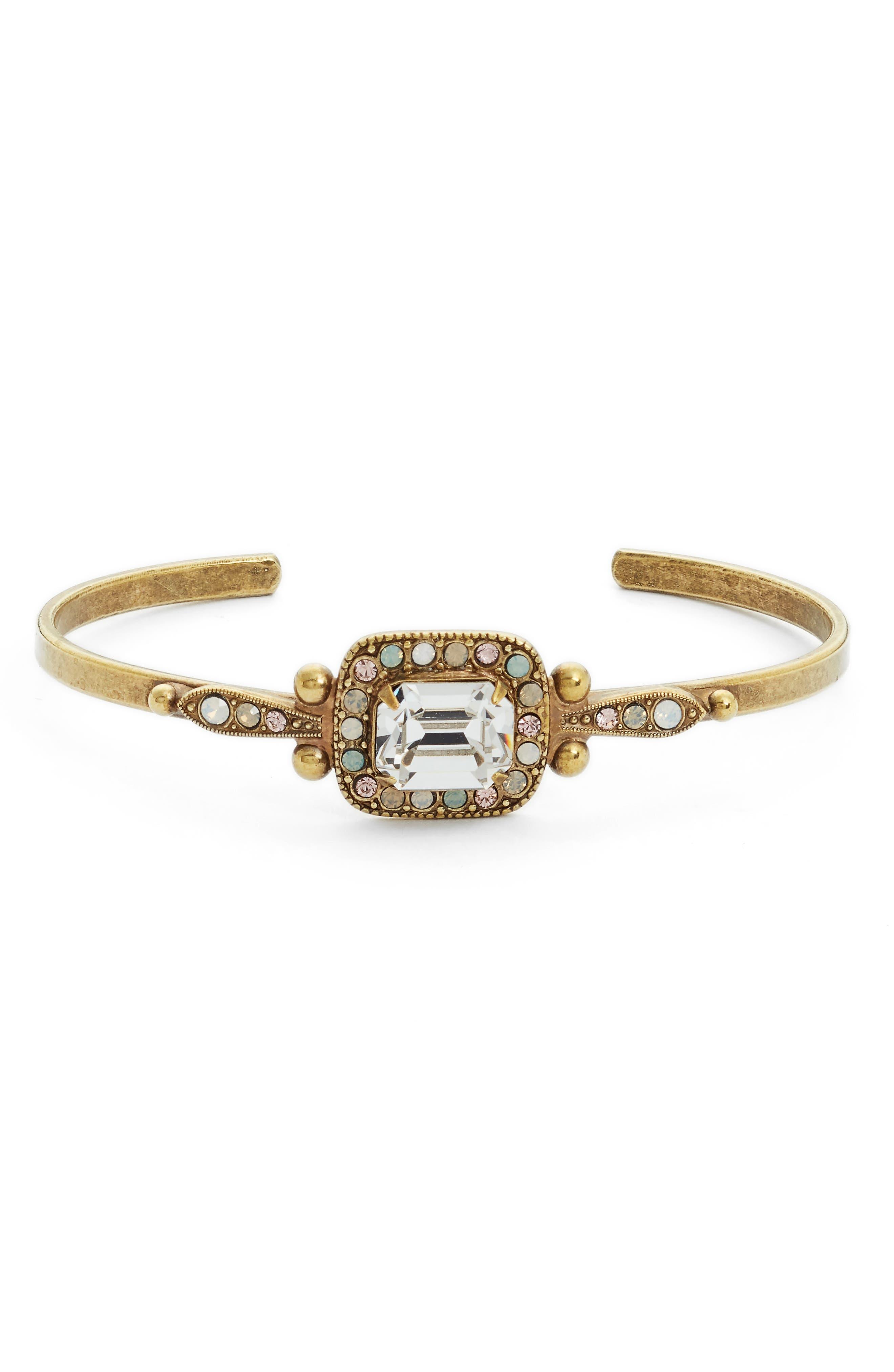 Opulent Octagon Crystal Cuff Bracelet,                         Main,                         color, Clear