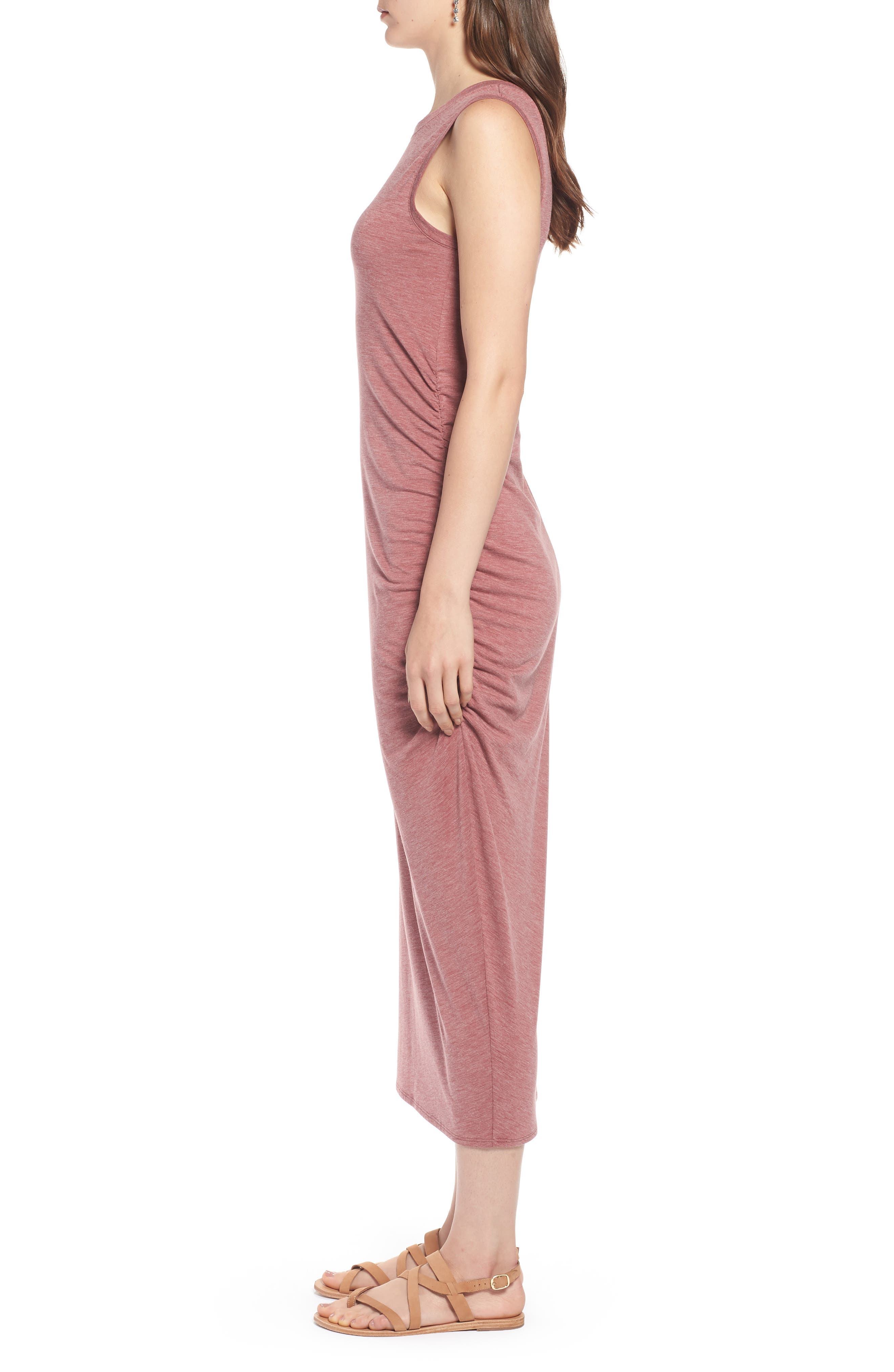 Sleeveless Side Ruched Dress,                             Alternate thumbnail 3, color,                             Burgundy Rouge Heather