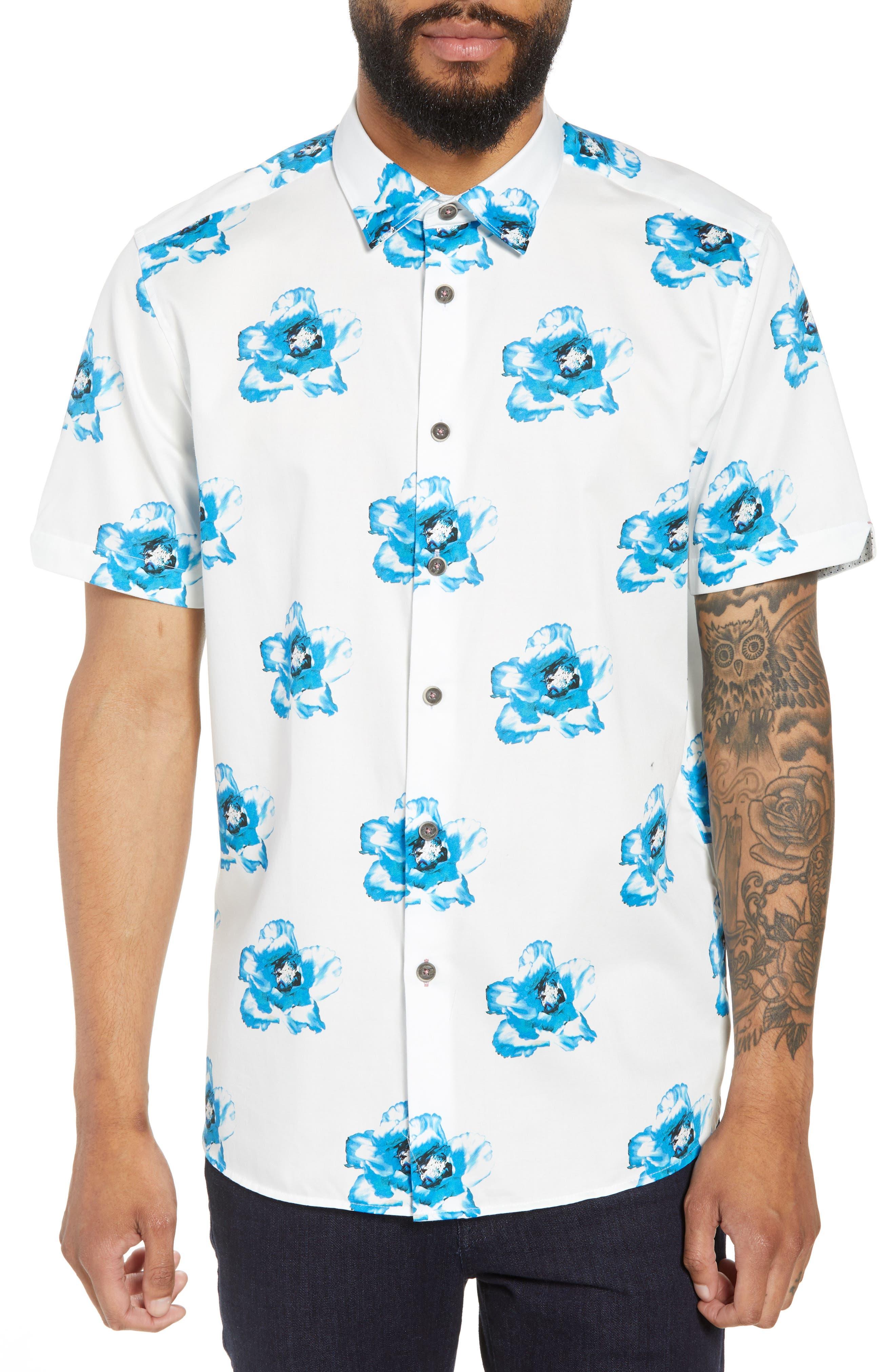 Silky Trim Fit Short Sleeve Sport Shirt,                         Main,                         color, White