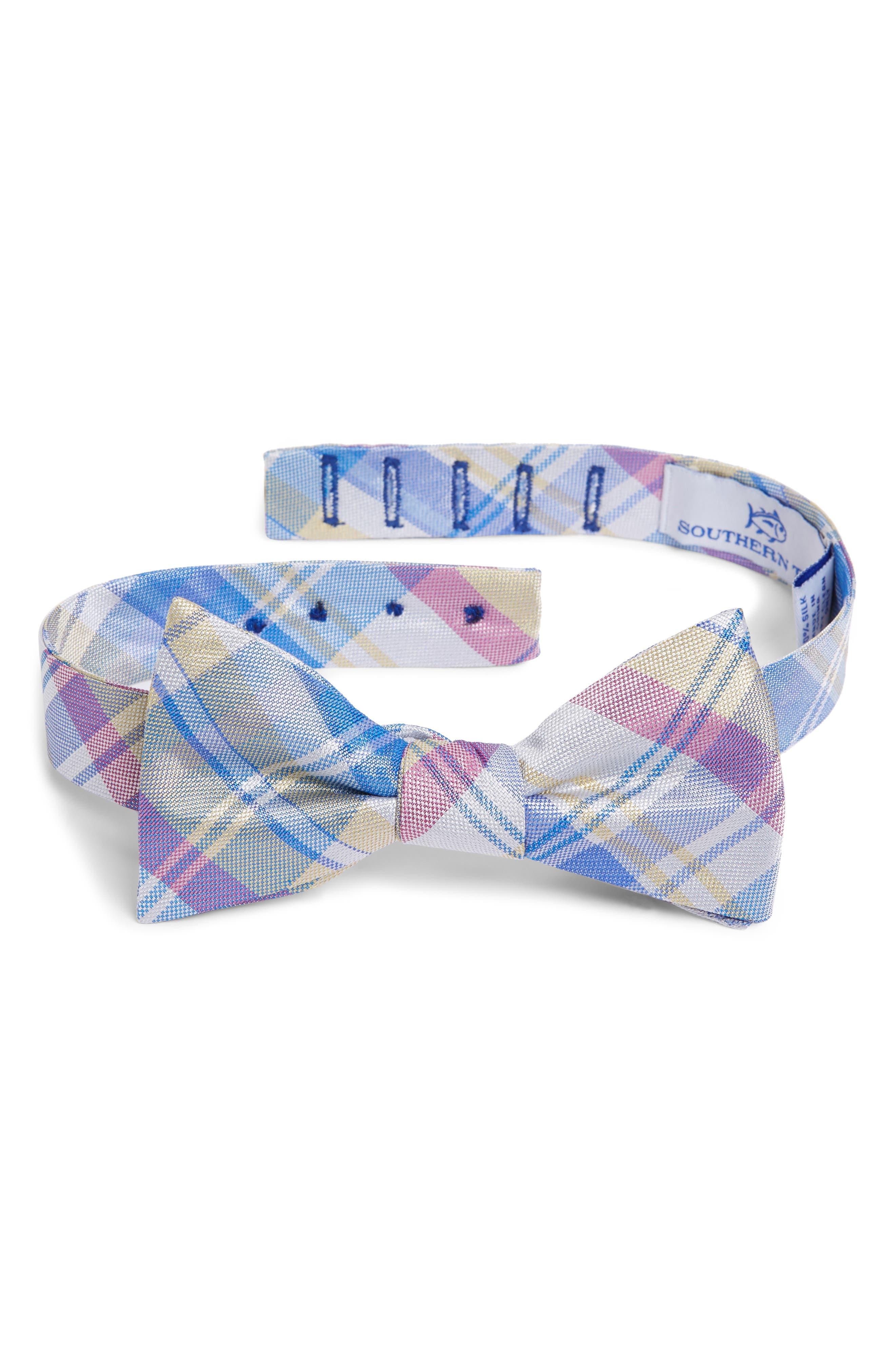 Boca Vista Plaid Silk Bow Tie,                         Main,                         color, Yellow
