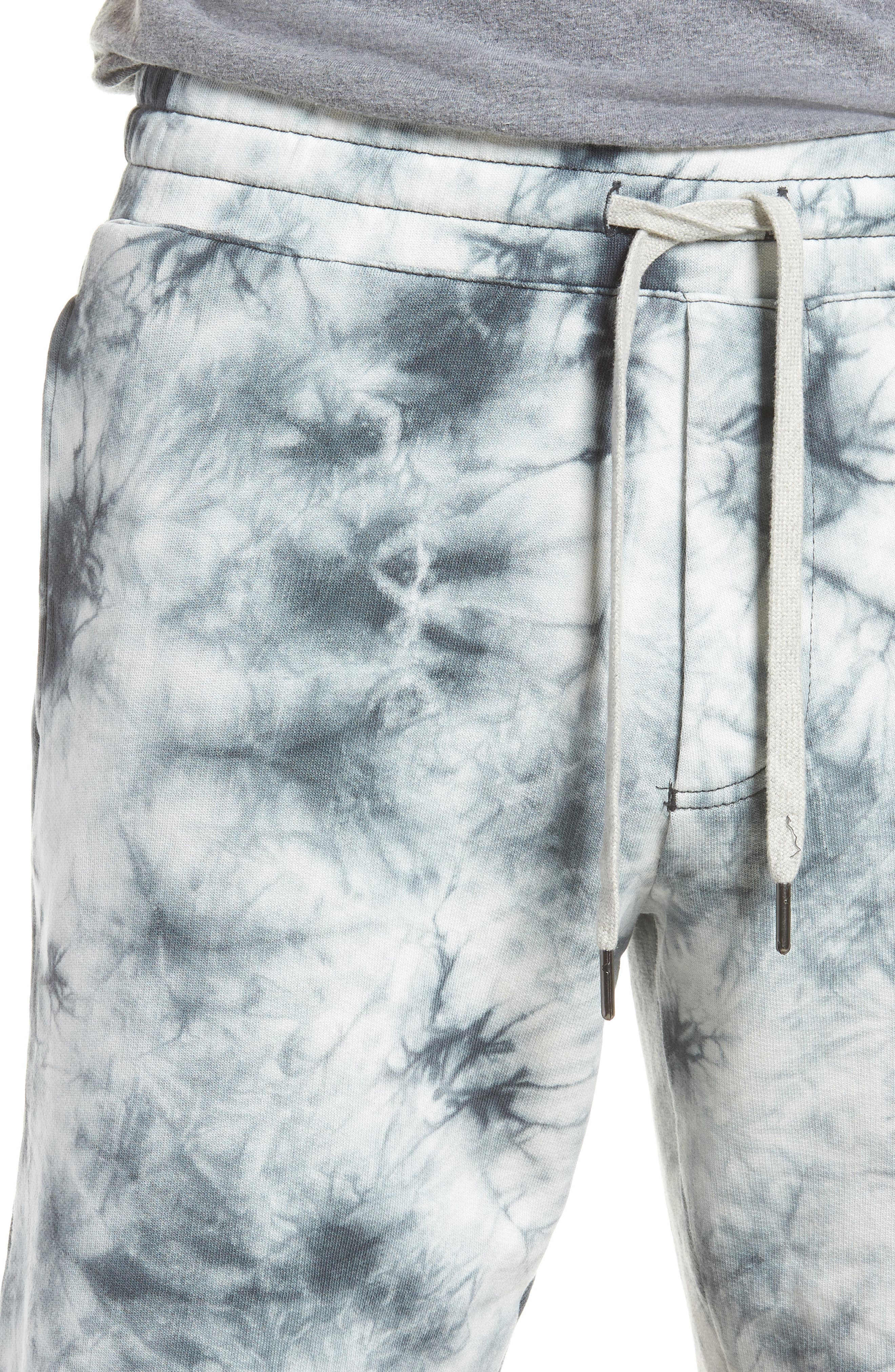Twisted 9-Inch Cotton Shorts,                             Alternate thumbnail 4, color,                             Blue Tie Dye