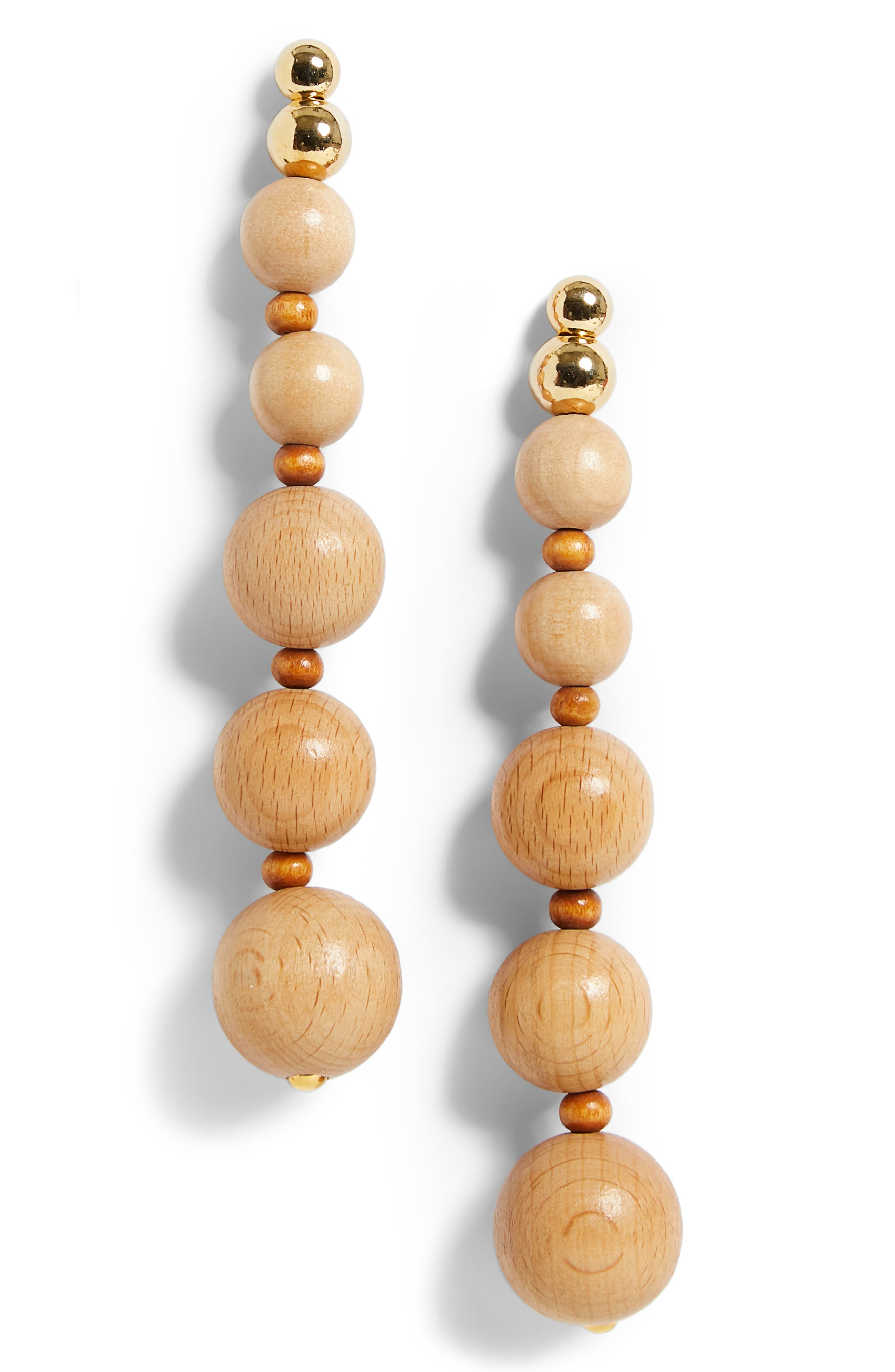Beaded Wooden Drop Earrings in Natural Tan