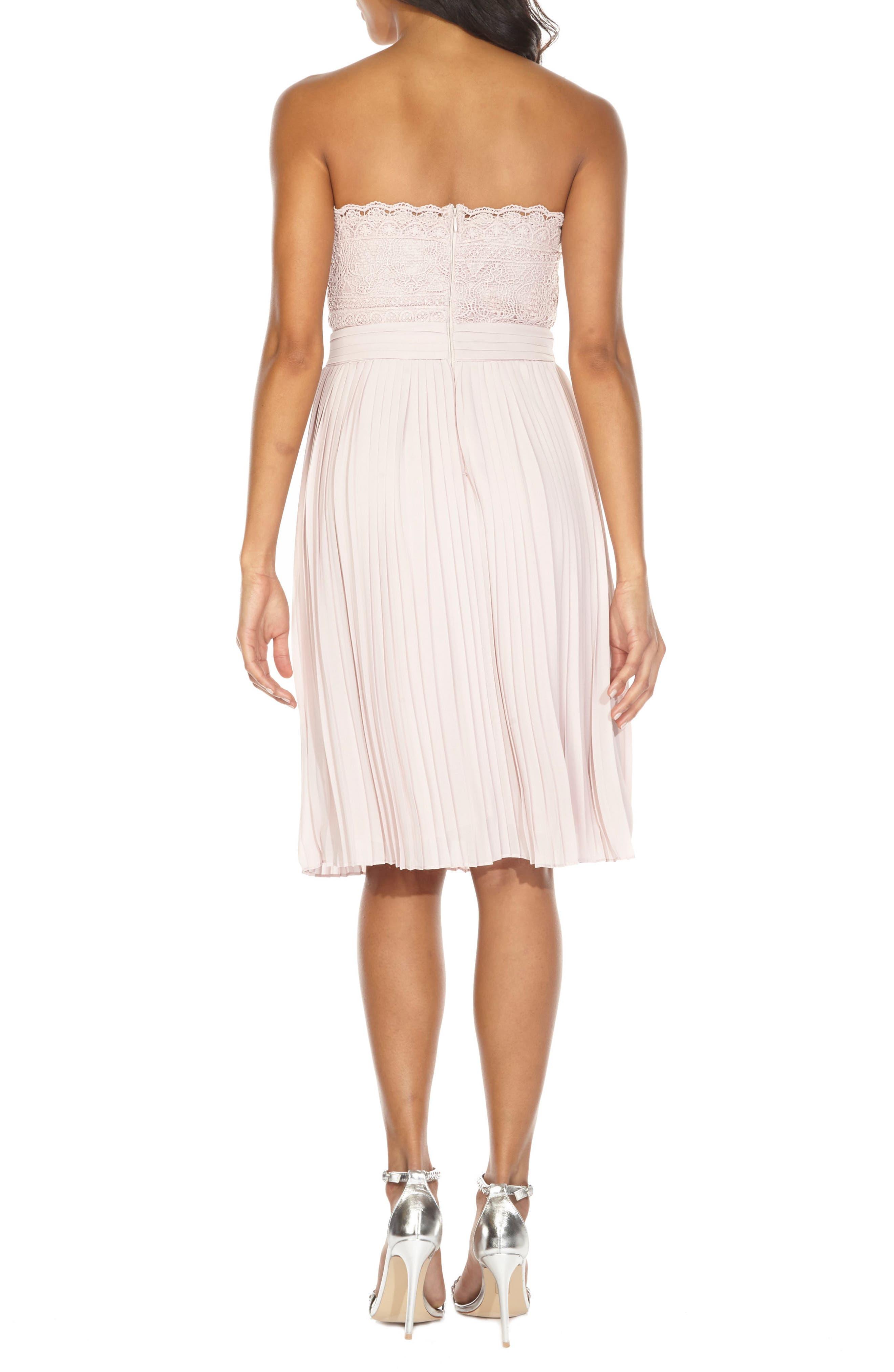 Kara Pleated Strapless Dress,                             Alternate thumbnail 2, color,                             Mink