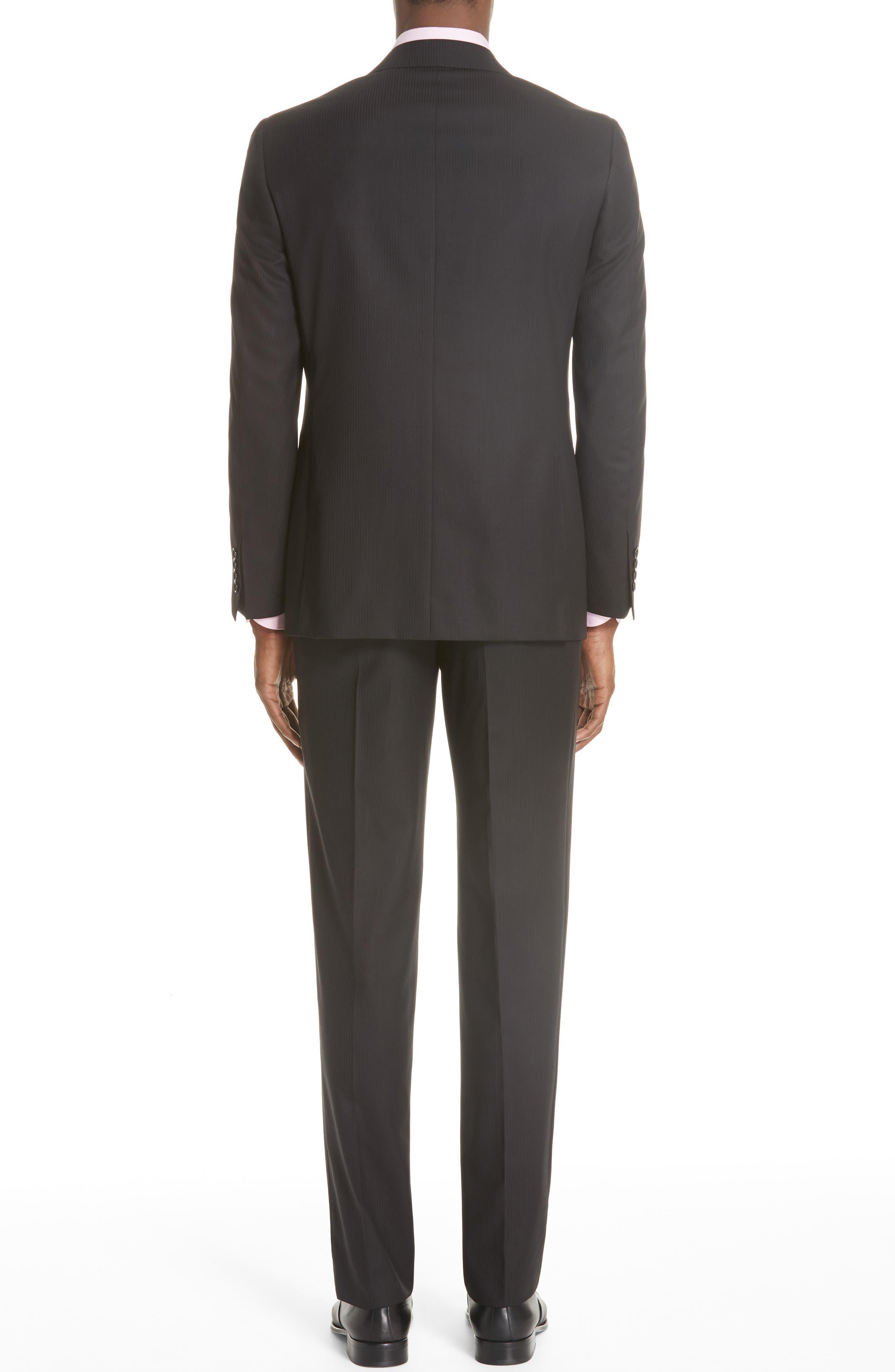 Siena Classic Fit Stripe Wool Suit,                             Alternate thumbnail 2, color,                             Black