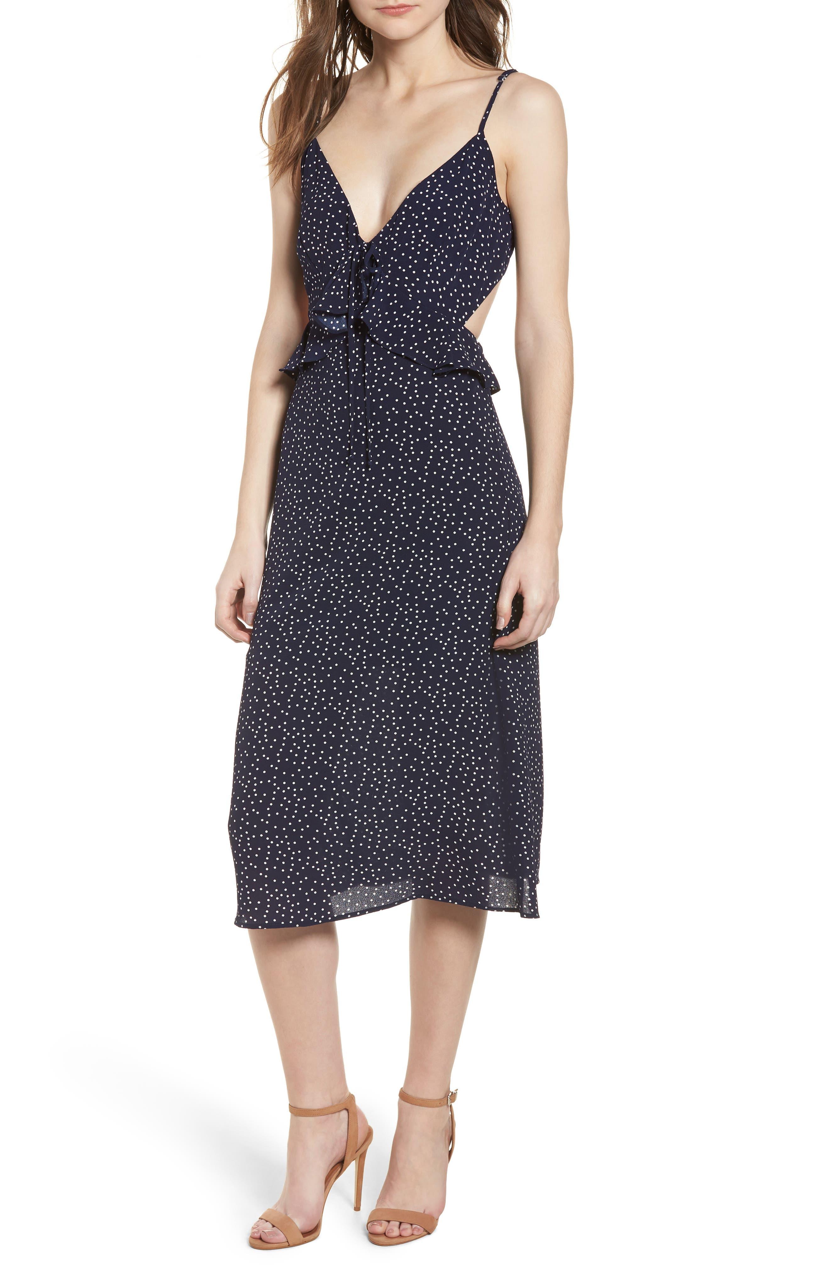 Ruffle Tie Back Midi Dress,                         Main,                         color, Navy