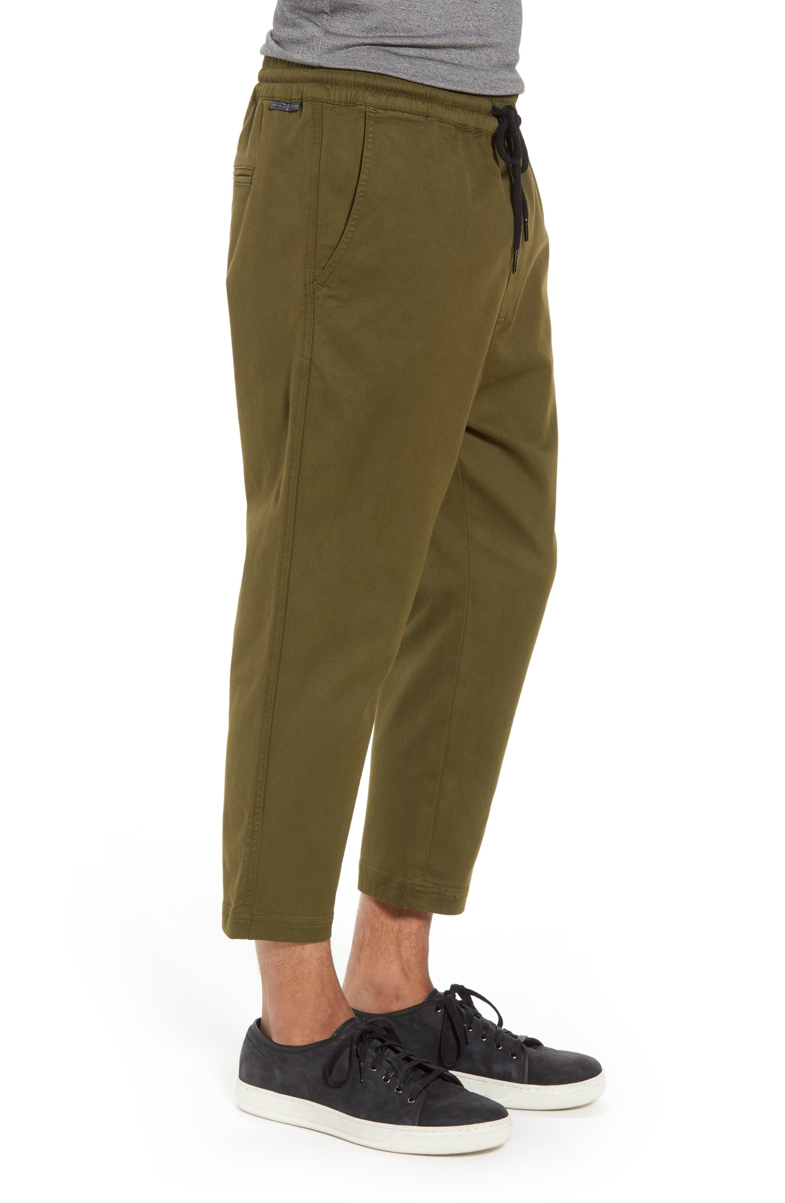 Hudson Leo Drop Crotch Pants,                             Alternate thumbnail 3, color,                             Olive