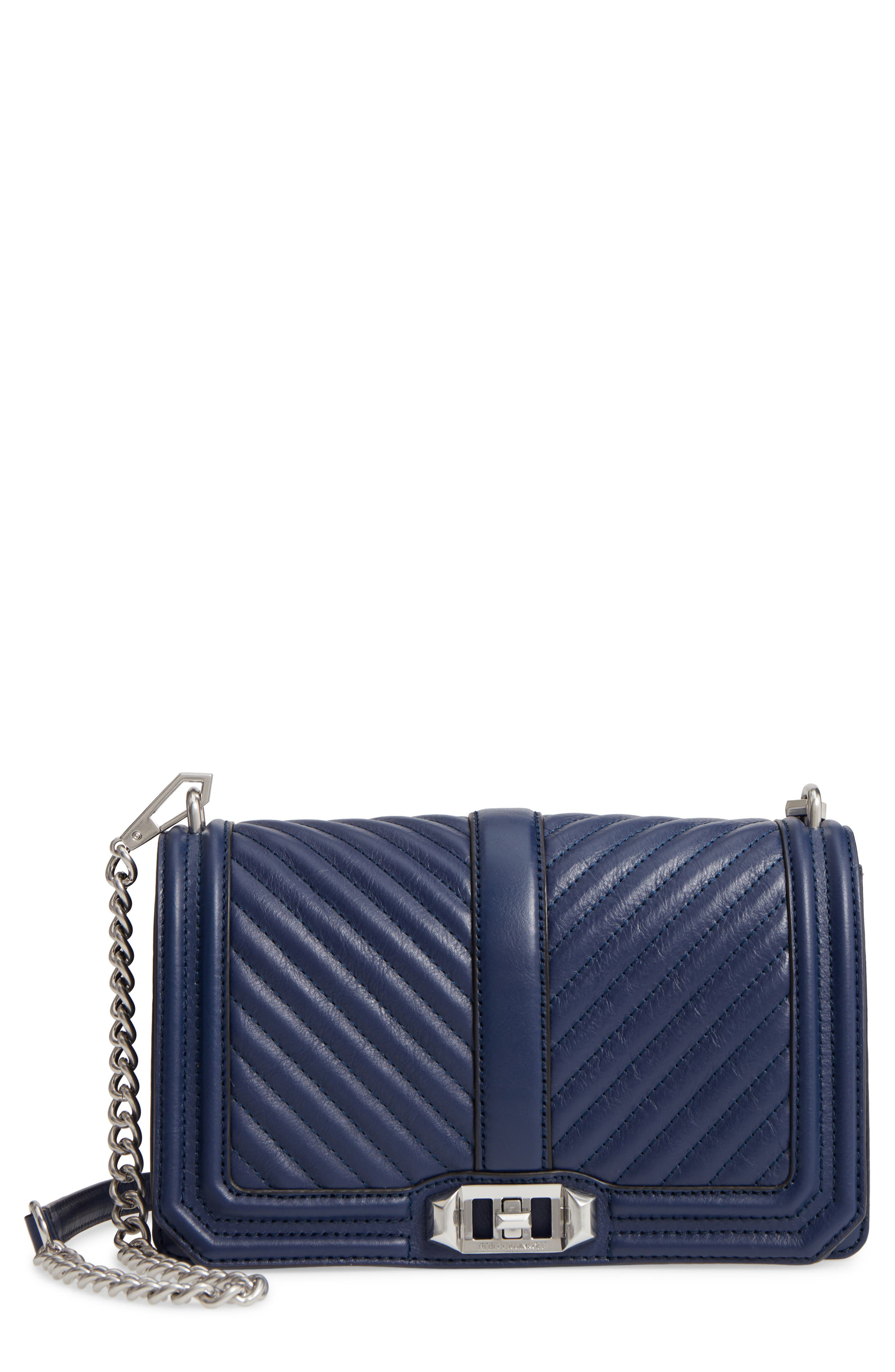 'CHEVRON QUILTED LOVE' CROSSBODY BAG - BLUE