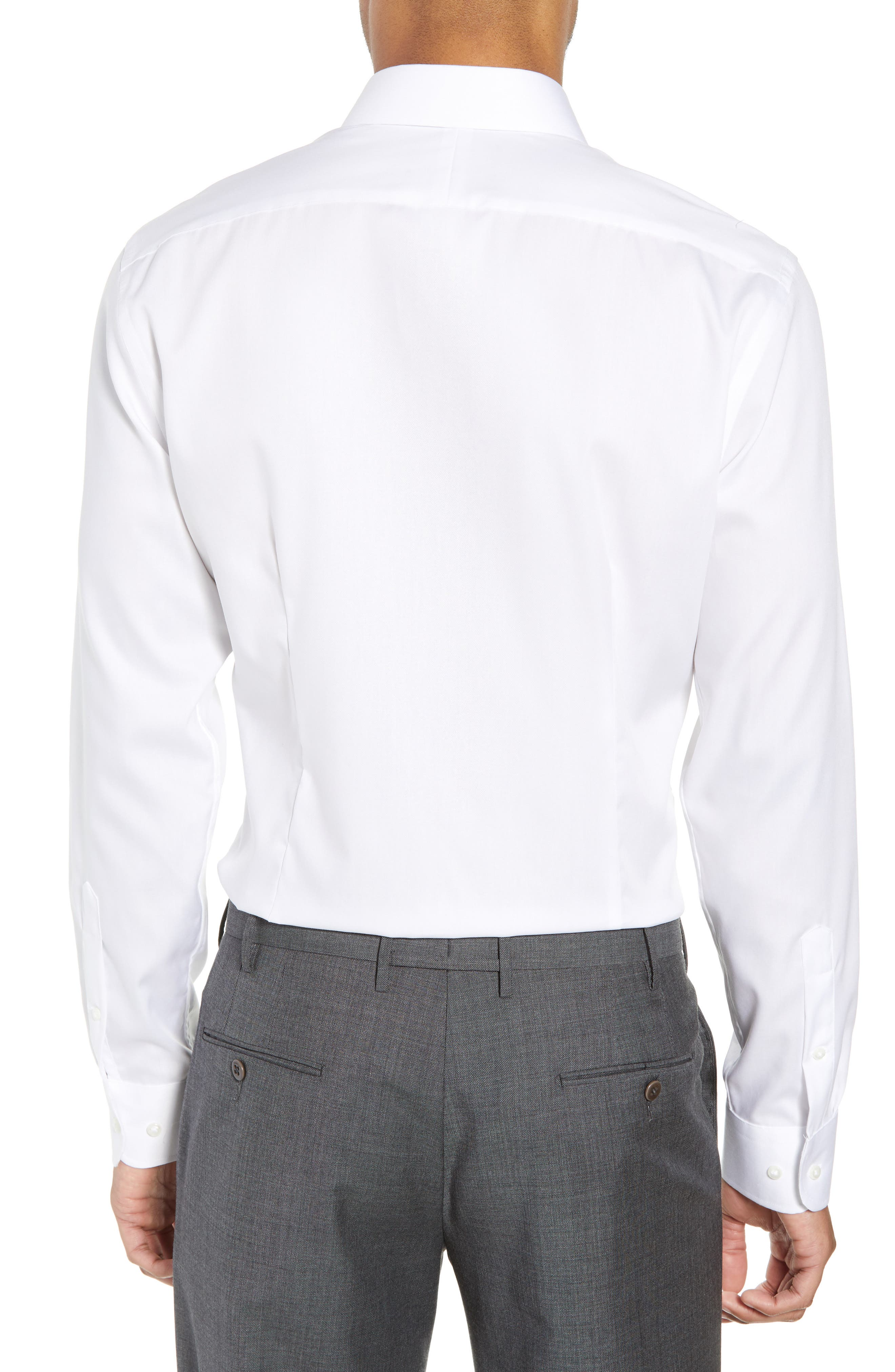 Extra Trim Fit Non-Iron Solid Dress Shirt,                             Alternate thumbnail 5, color,                             White