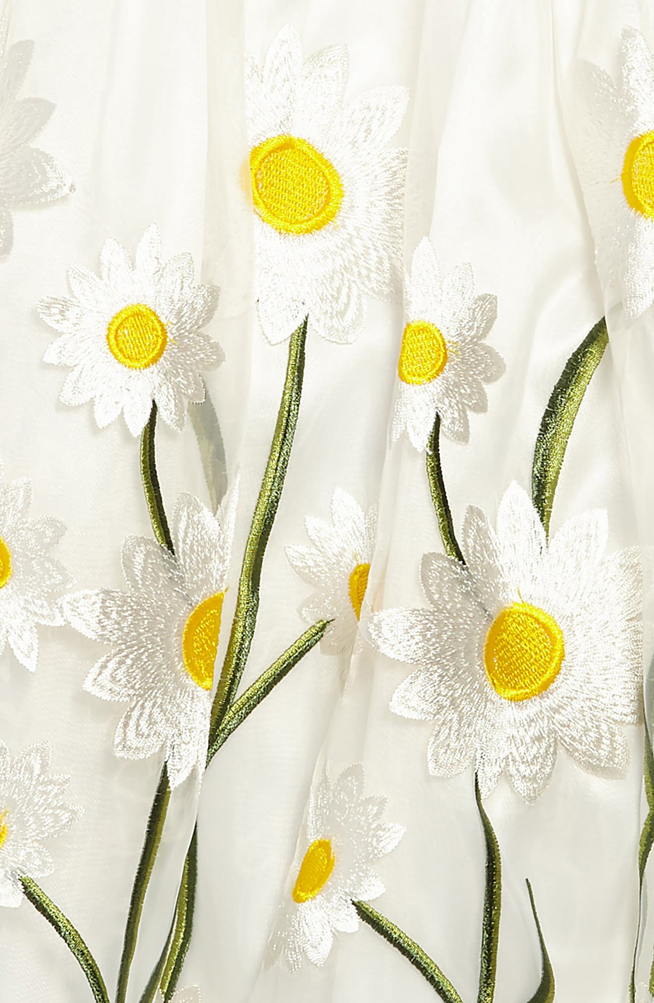 Embroidered Daisy Fit & Flare Dress,                             Alternate thumbnail 3, color,                             White