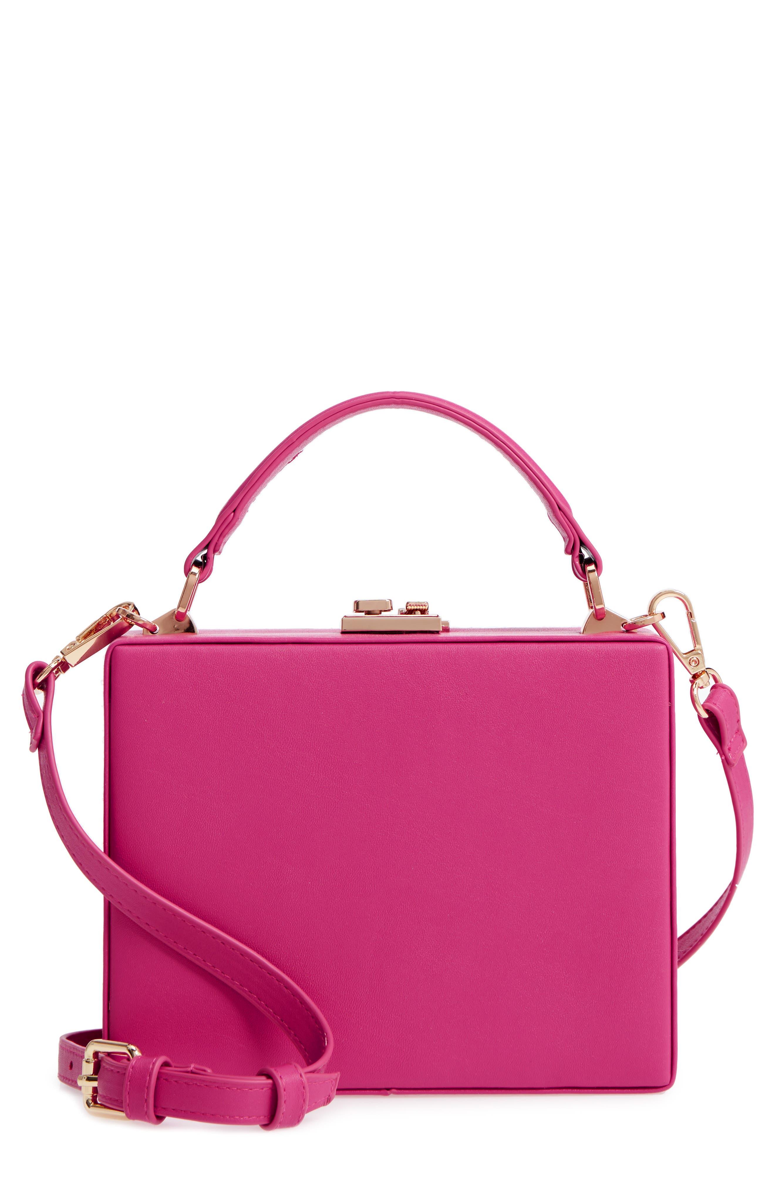 Faux Leather Crossbody Bag,                         Main,                         color, Fuschia