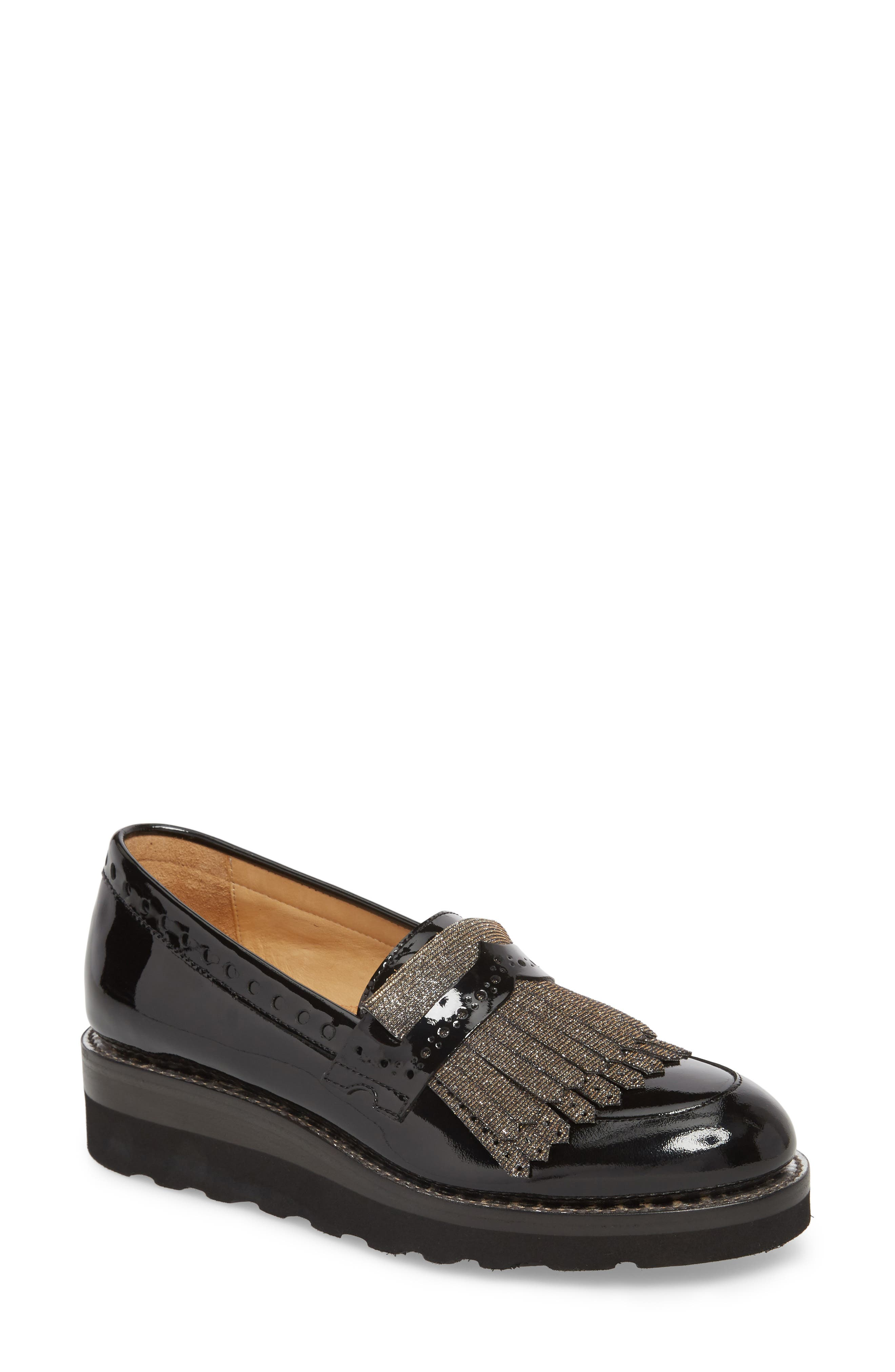 THE OFFICE OF ANGELA SCOTT Mr. Pennywise Wedge Loafer in Black Metallic