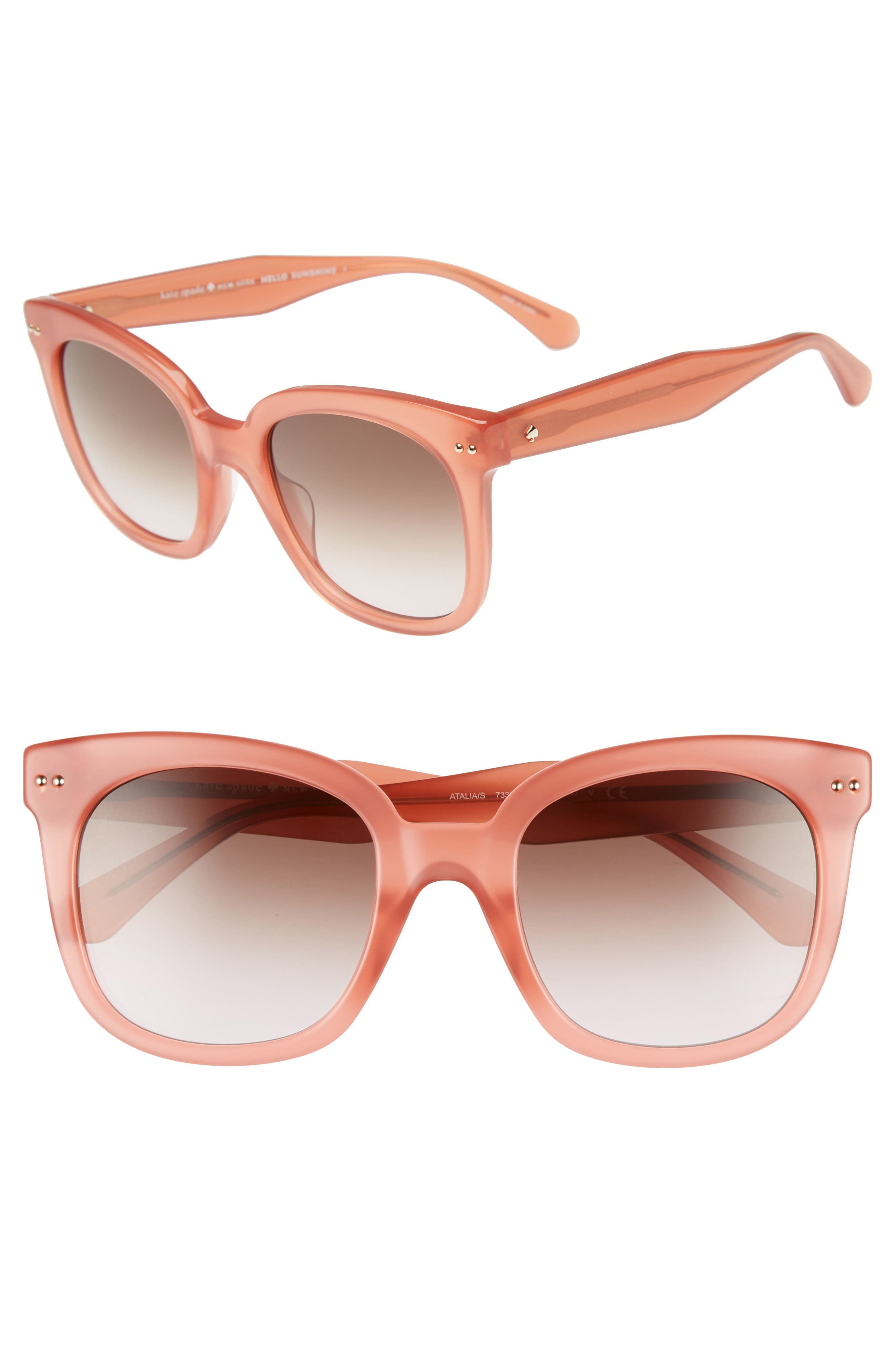 atalias 52mm square sunglasses,                             Main thumbnail 1, color,                             Peach