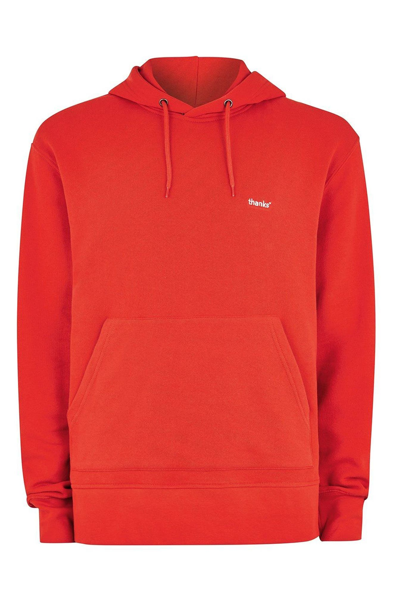 Classic Fit Tristan Thanks Embroidered Hoodie,                             Alternate thumbnail 4, color,                             Red Multi