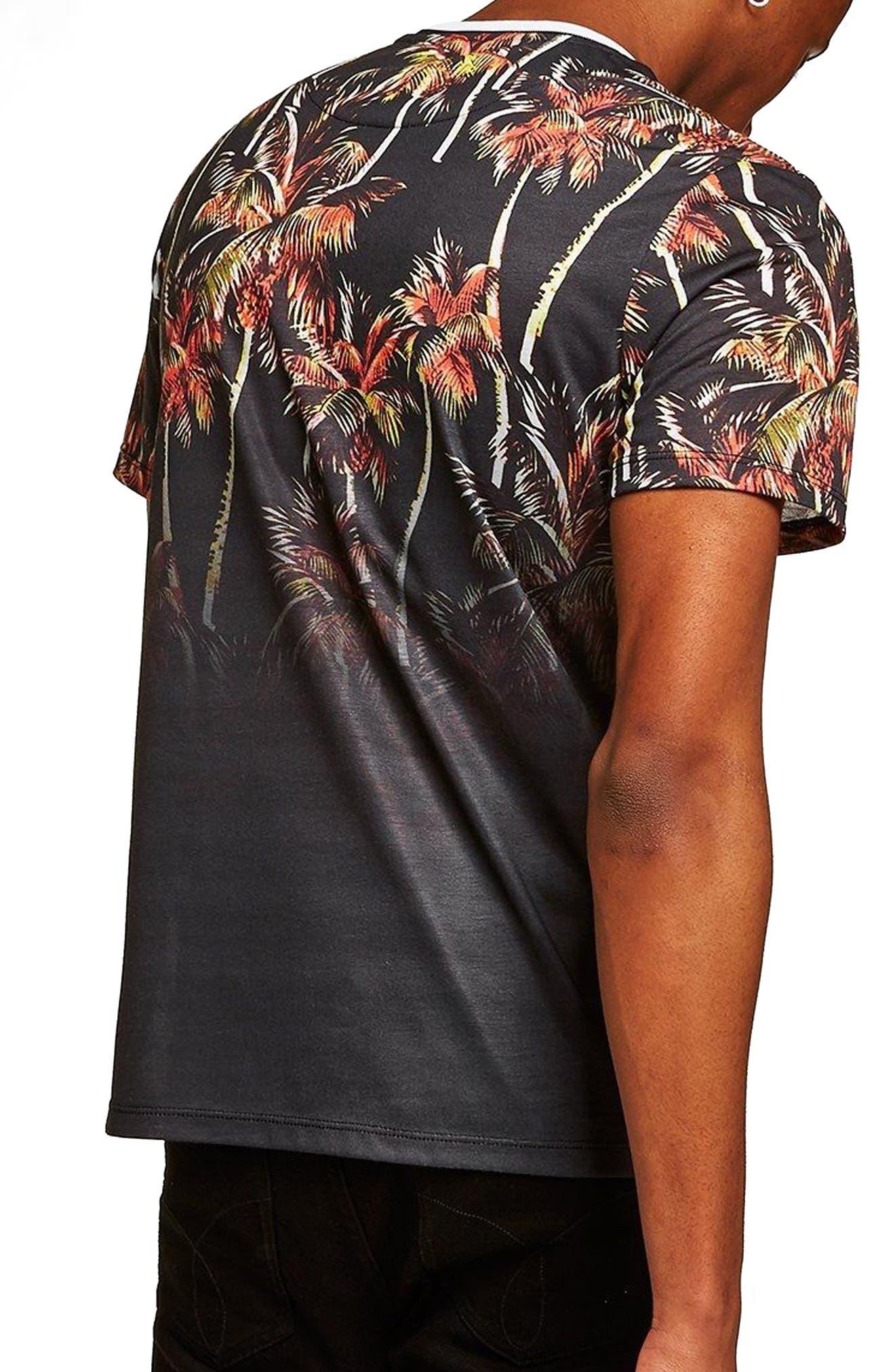 Palm Tree Print T-Shirt,                             Alternate thumbnail 2, color,                             Black Multi