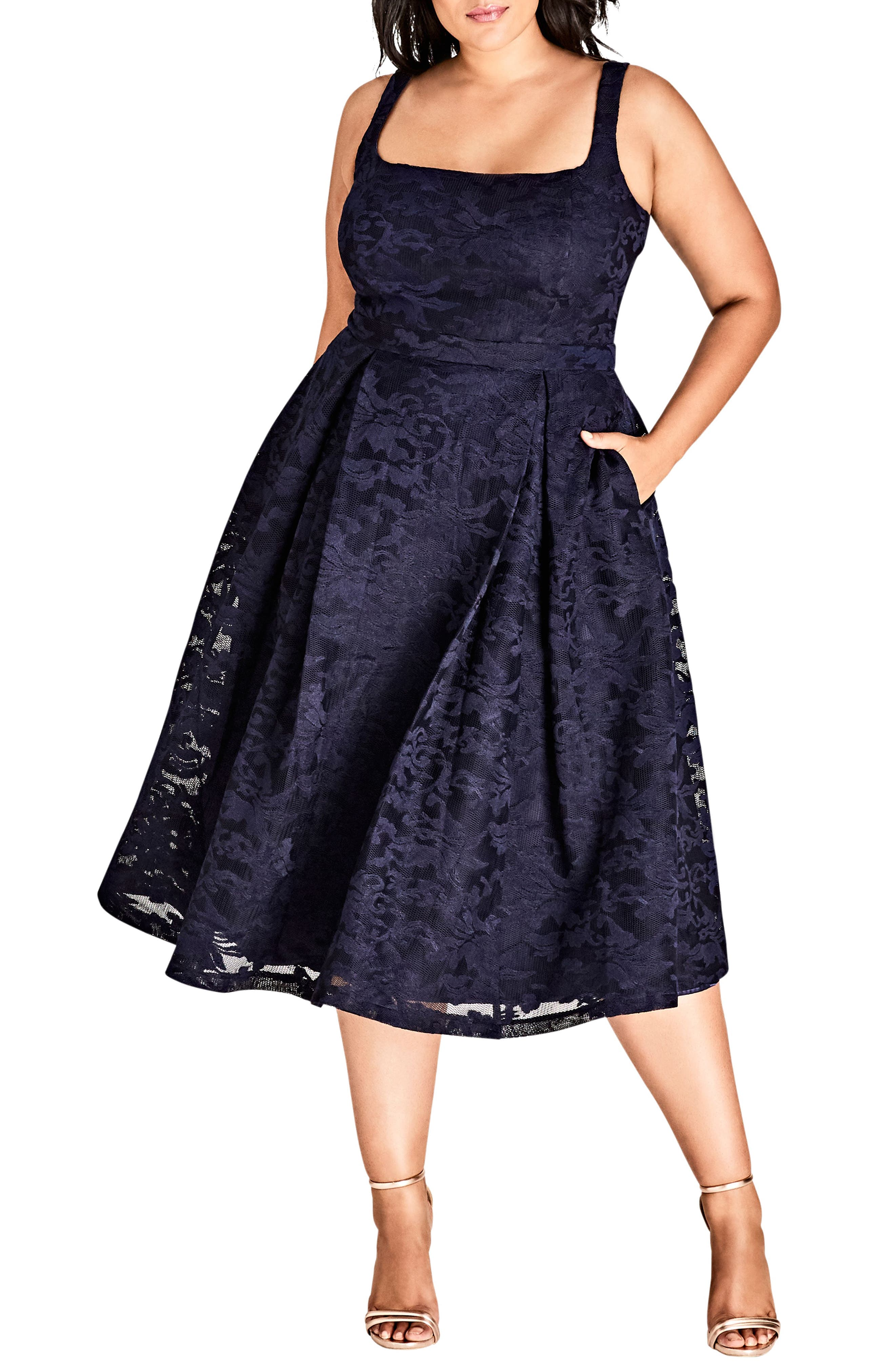 Jackie O Lace Fit & Flare Dress,                             Main thumbnail 1, color,                             Navy