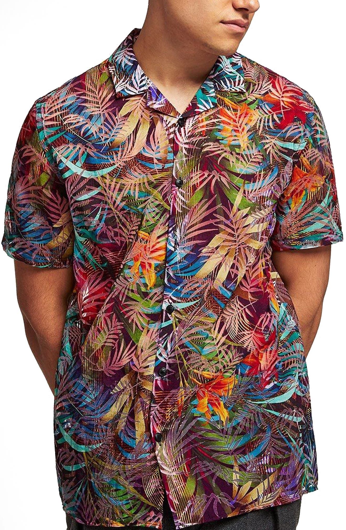 Rainbow Palm Print Shirt,                             Main thumbnail 1, color,                             Red Multi