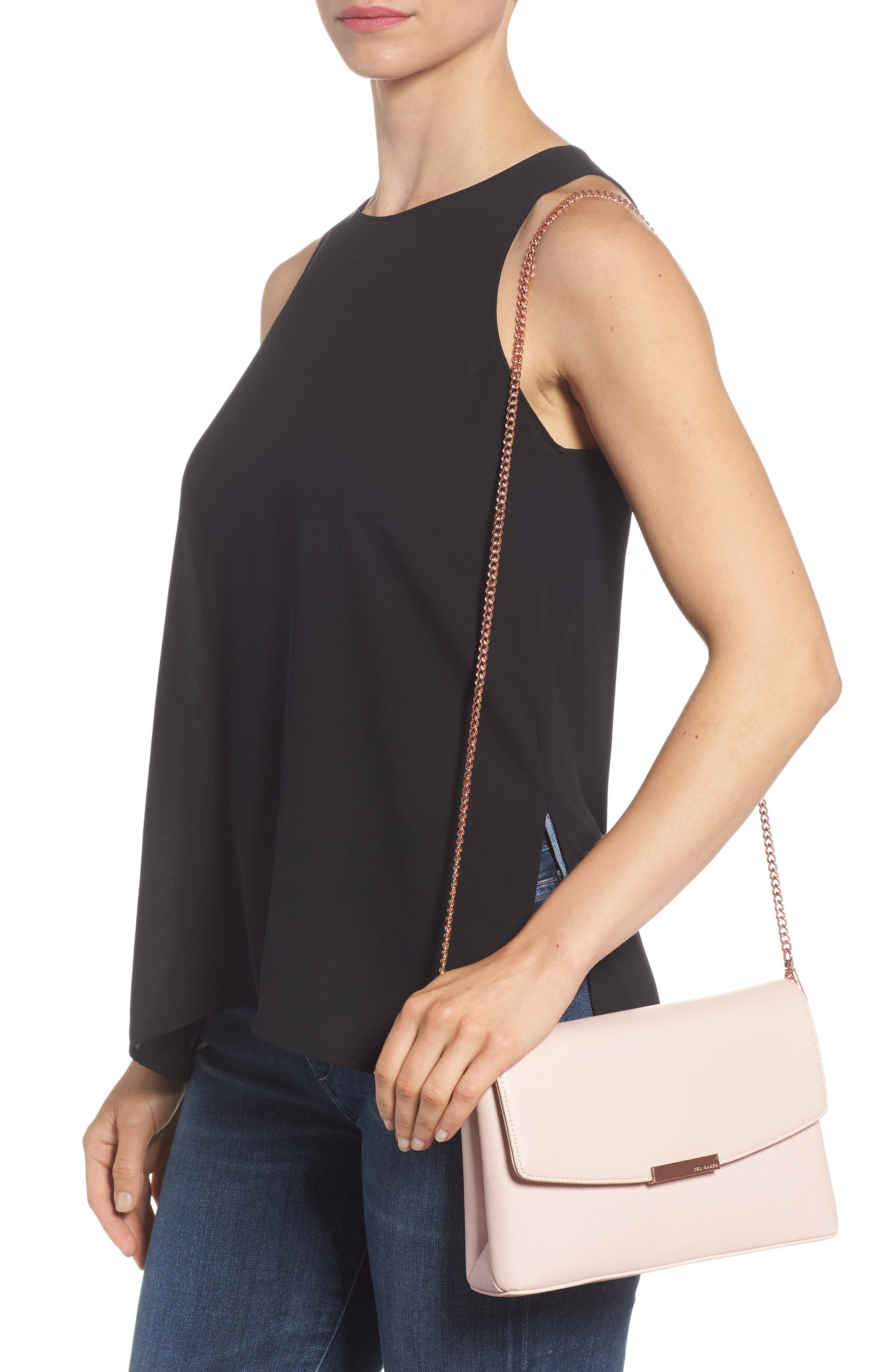 Faux Leather Crossbody Bag,                             Alternate thumbnail 2, color,                             Nude Pink