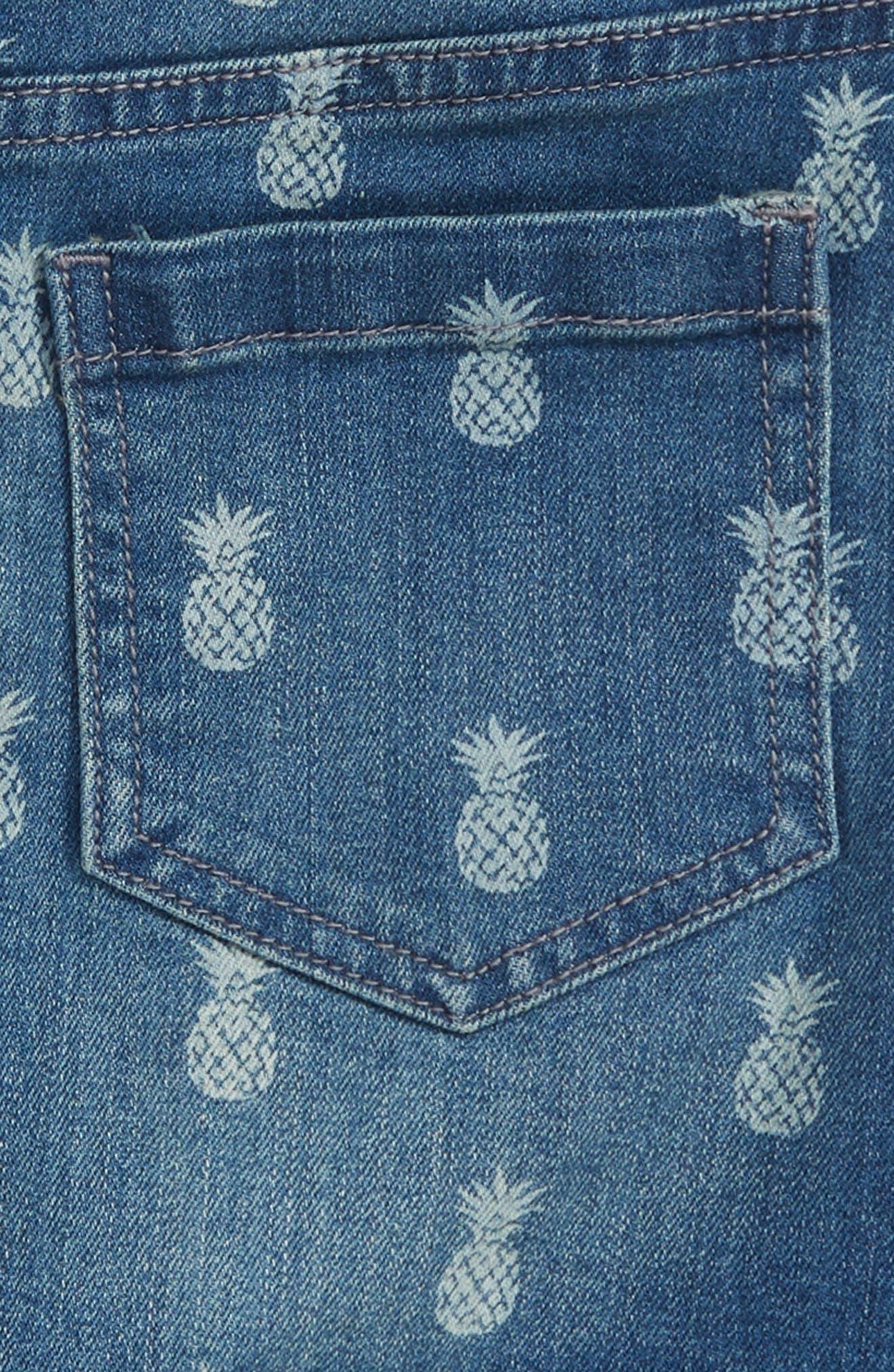 Pineapple Print Denim Skirt,                             Alternate thumbnail 3, color,                             Indigo Ivory