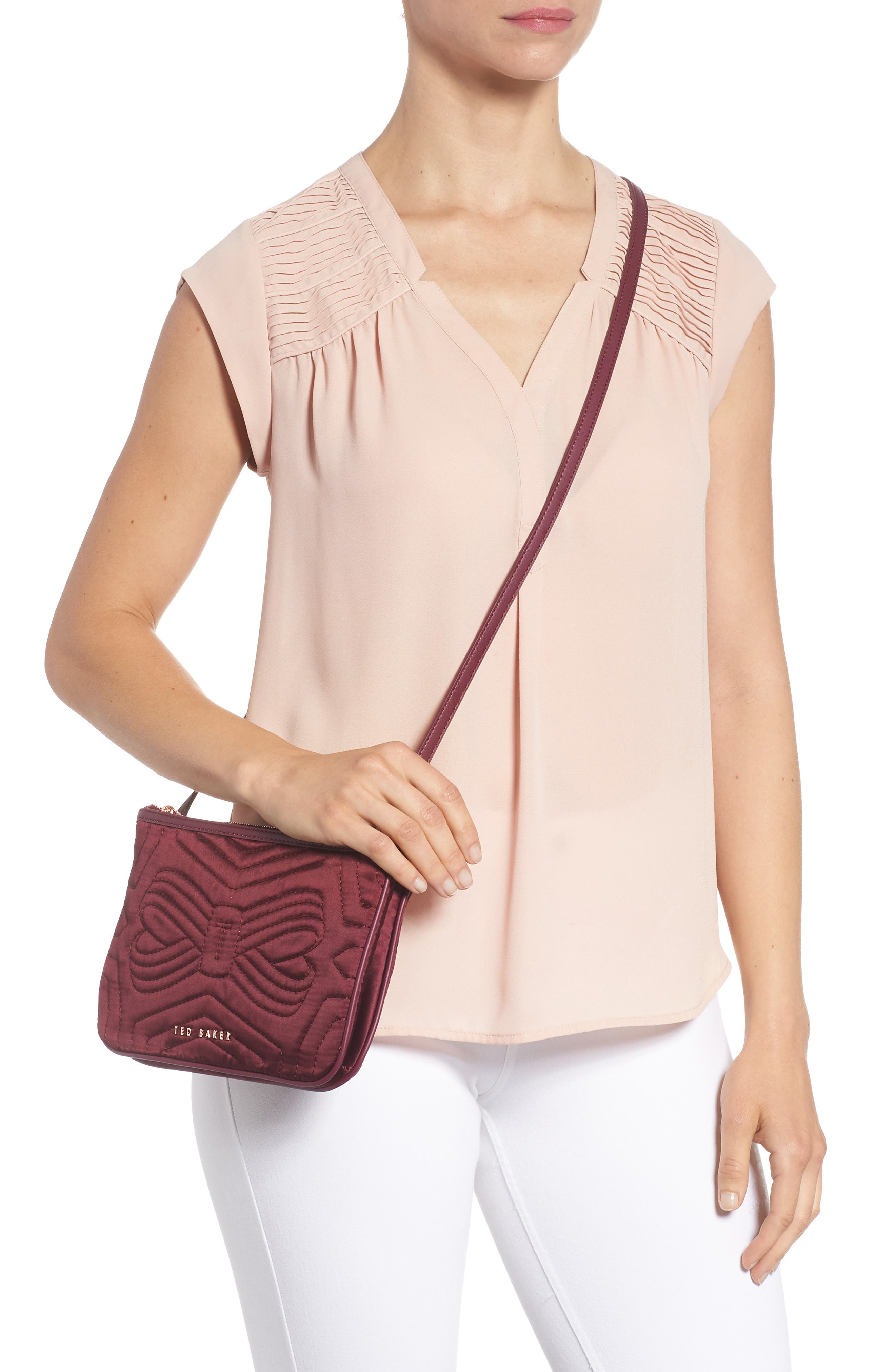 Quilted Bow Crossbody Bag,                             Alternate thumbnail 2, color,                             Maroon