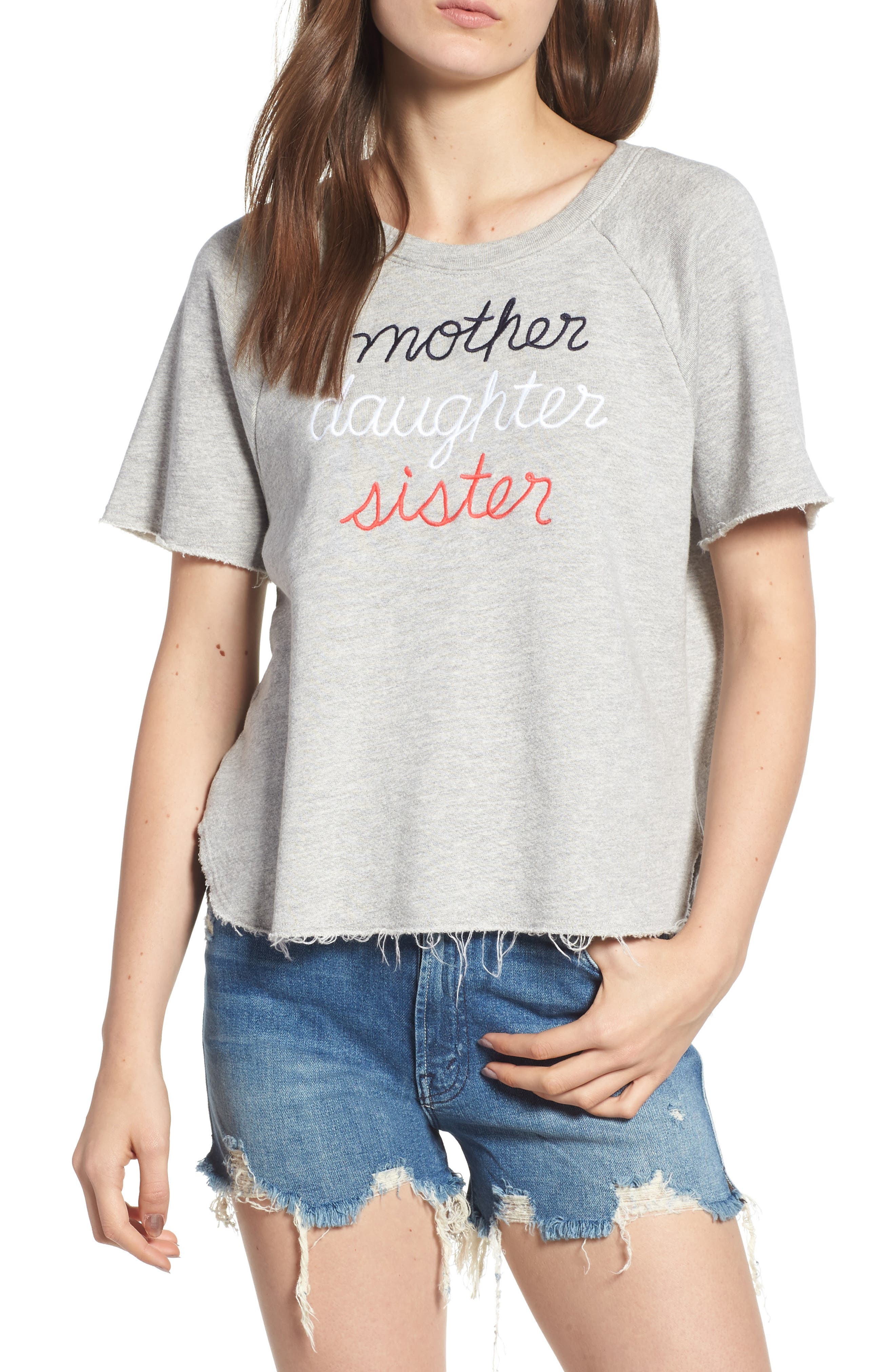 Mother Daughter Sister Sweatshirt,                             Main thumbnail 1, color,                             Heather Grey