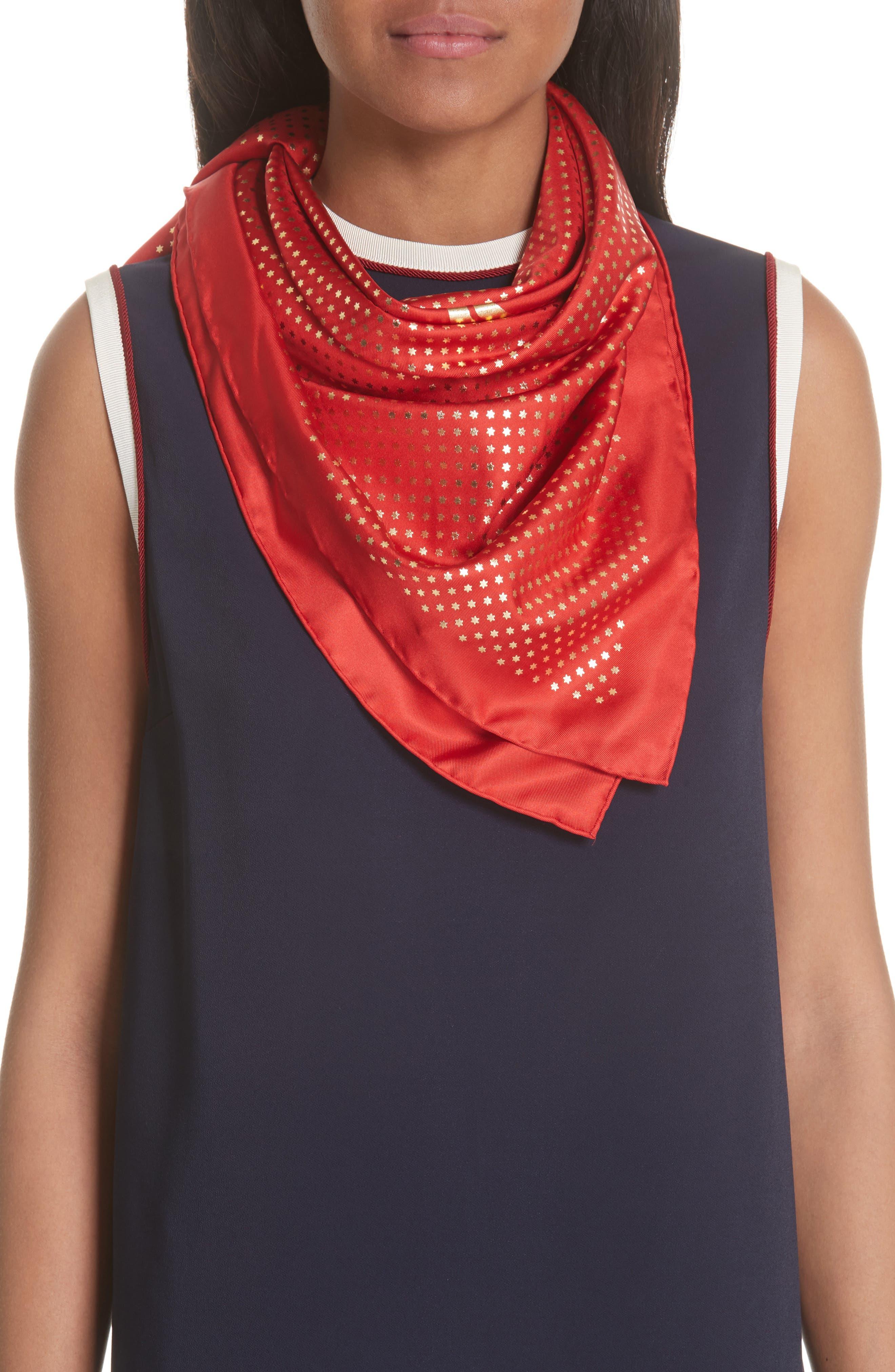 Guccy Star Foulard Silk Twill Scarf,                             Alternate thumbnail 2, color,                             Flame